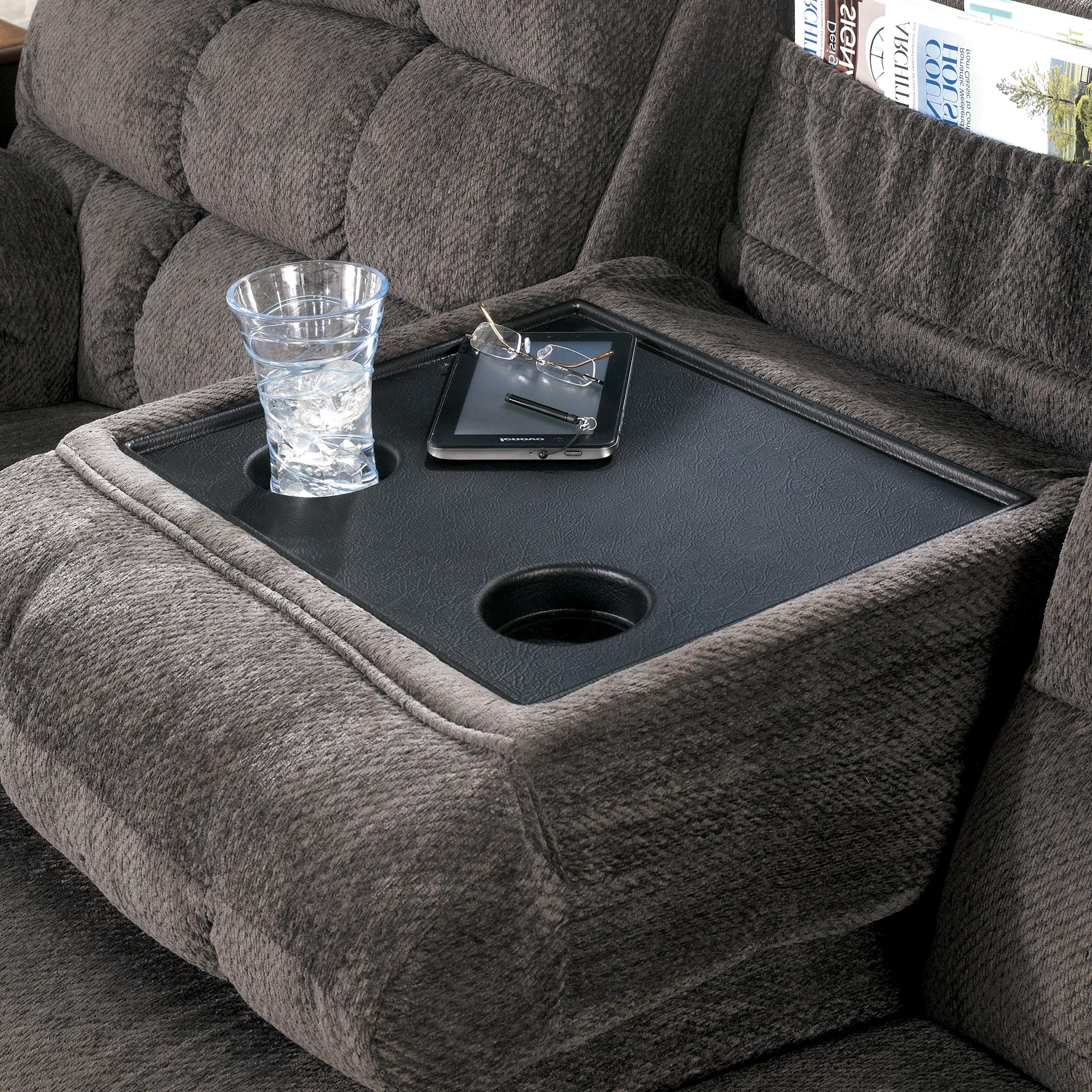 Well Known Sofas With Drink Tables With Reclining Sofa With Drop Down Table And Cup Holderssignature (View 9 of 15)