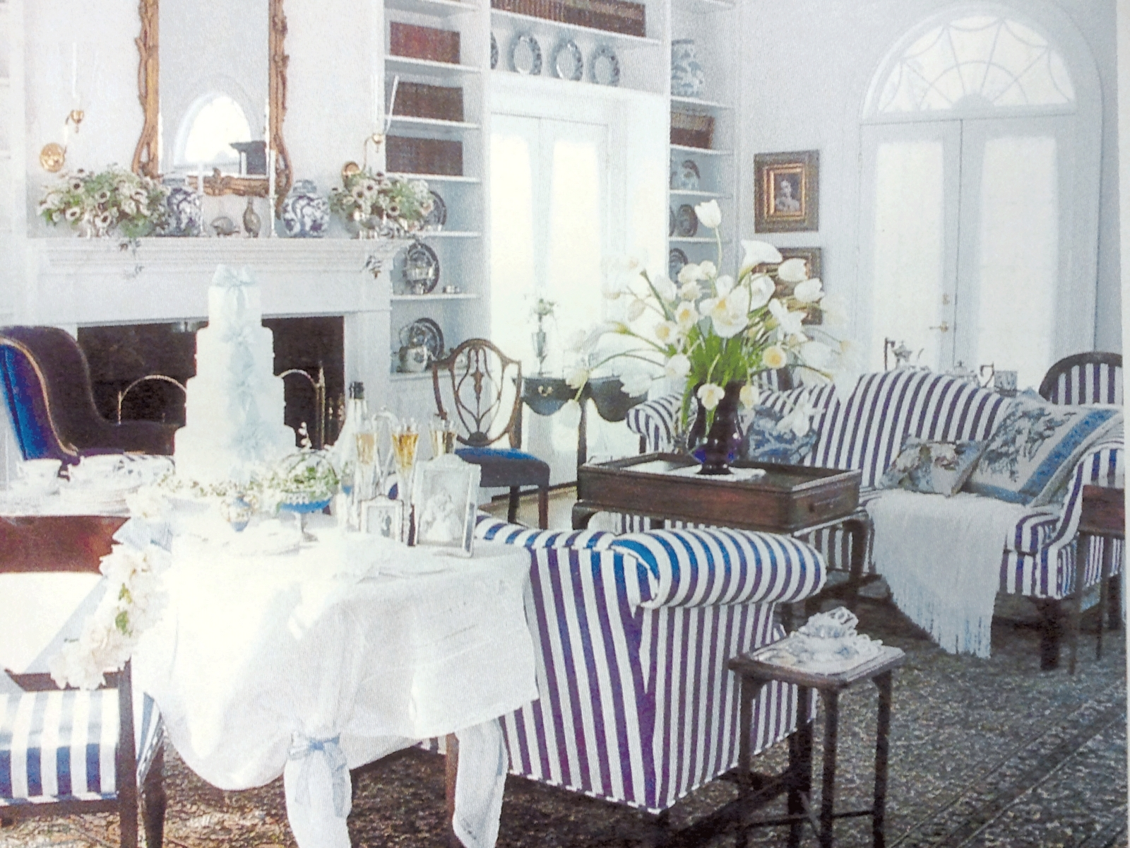 Well Known Striped Sofas And Chairs With A Traditional Living Room With Navy & White Striped Sofas And Blue (View 14 of 15)