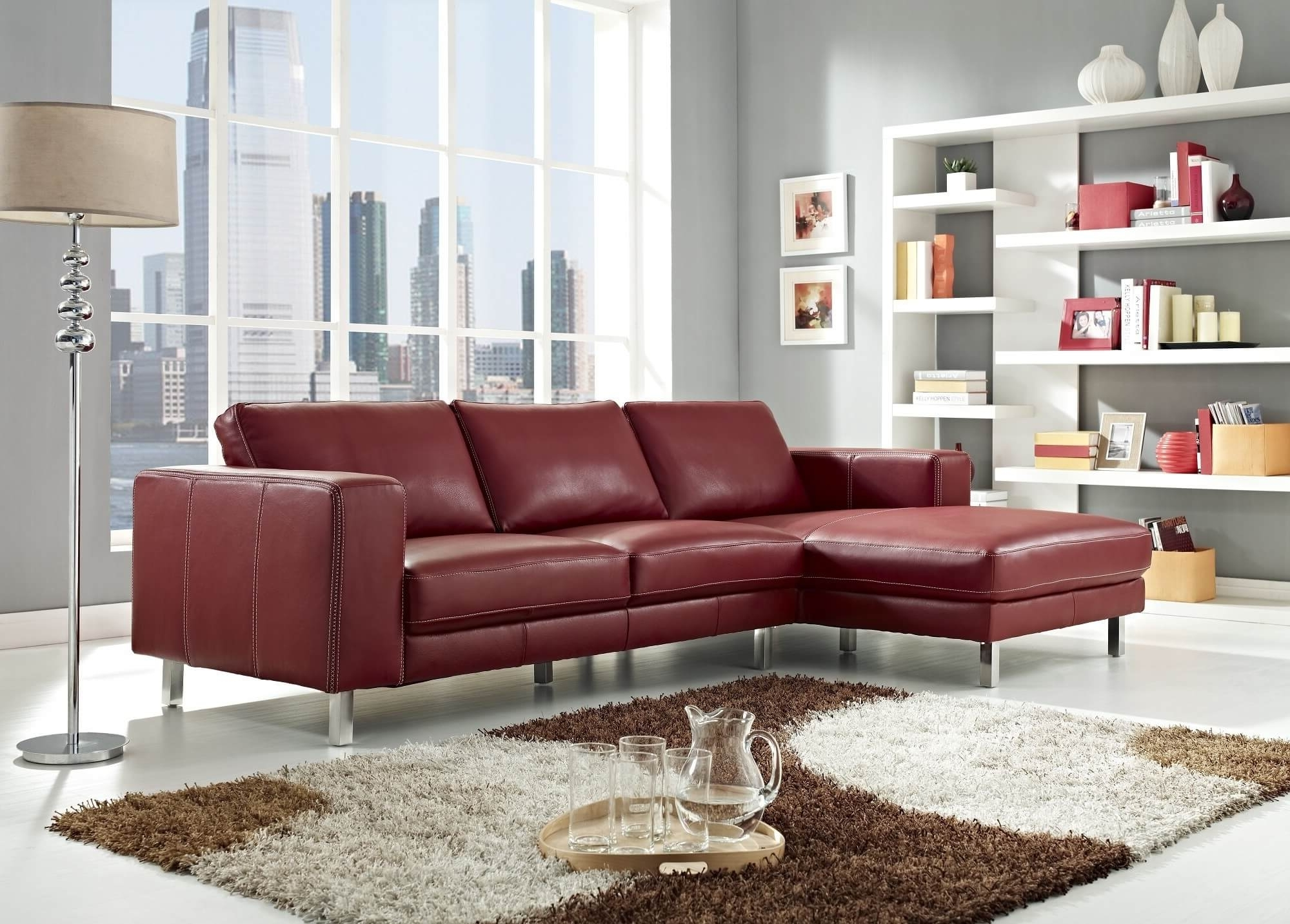 Well Known Stylish Modern Red Sectional Sofas Regarding Red Leather Couches For Living Room (View 5 of 15)