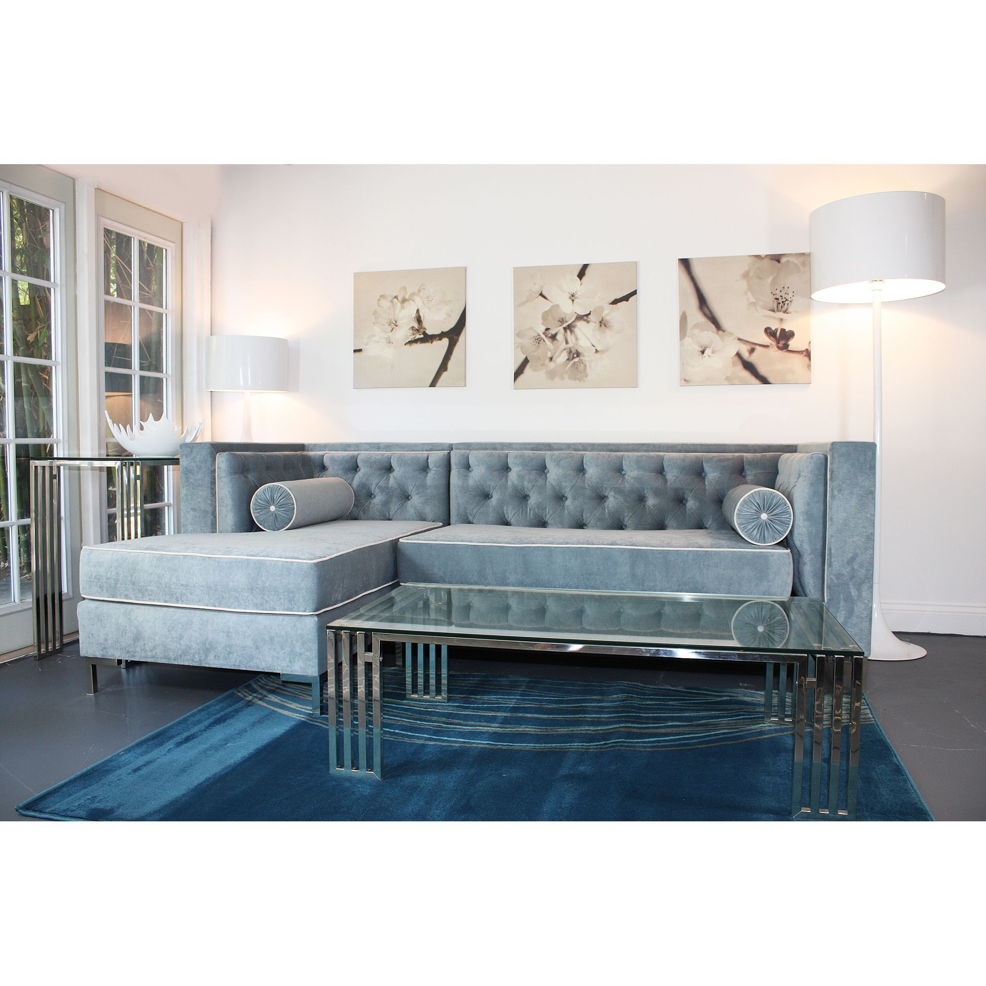 Well Known Tufted Sectionals With Chaise Throughout The Tobias Lush Hand Tufted Sectional Features Wegewood Blue Micro (View 13 of 15)