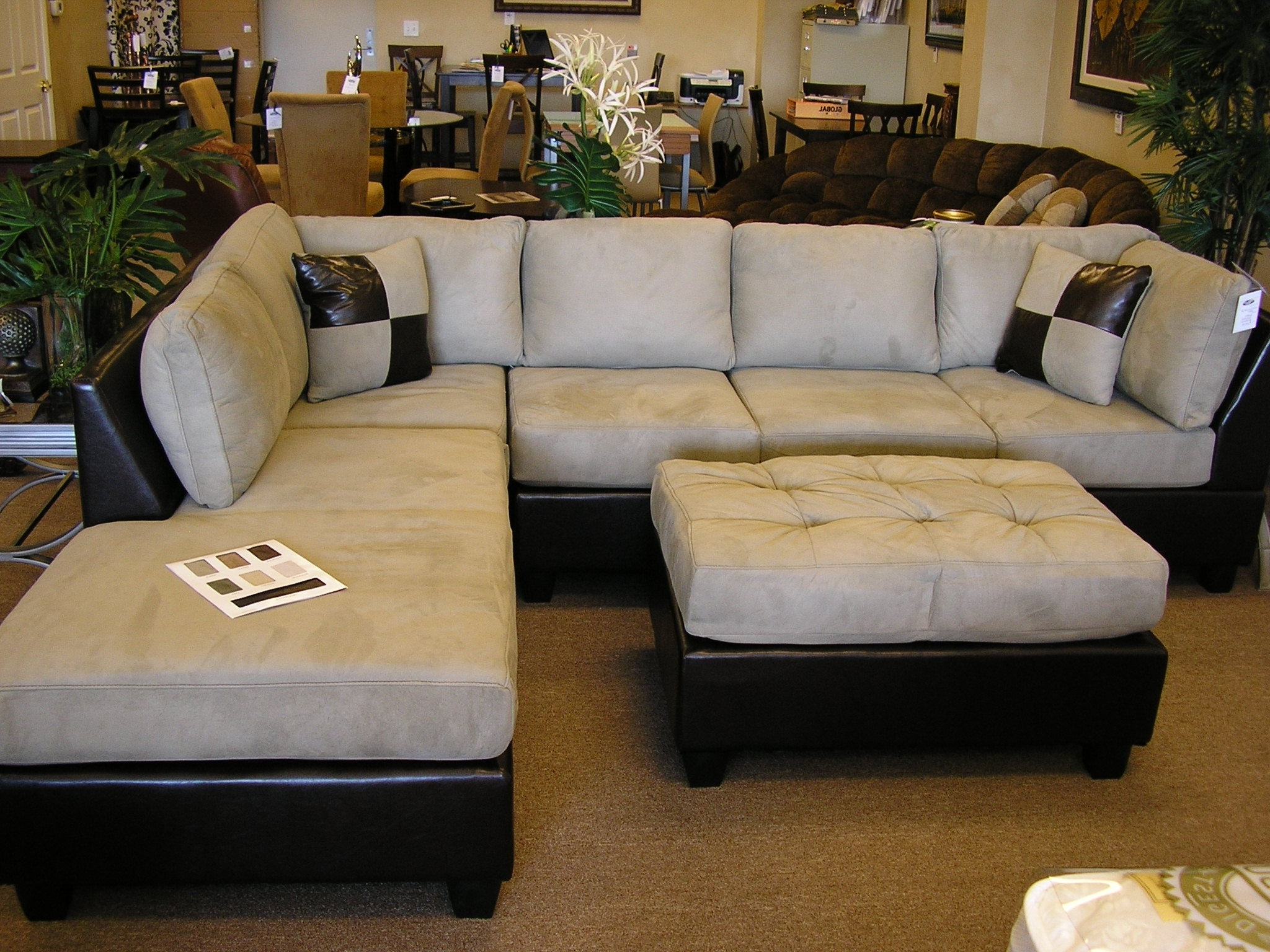 Well Known Uncategorized : Sectional Ottoman Set Ideas For Lovely Sofa 3 With Regard To Leather Sectionals With Chaise And Ottoman (View 13 of 15)