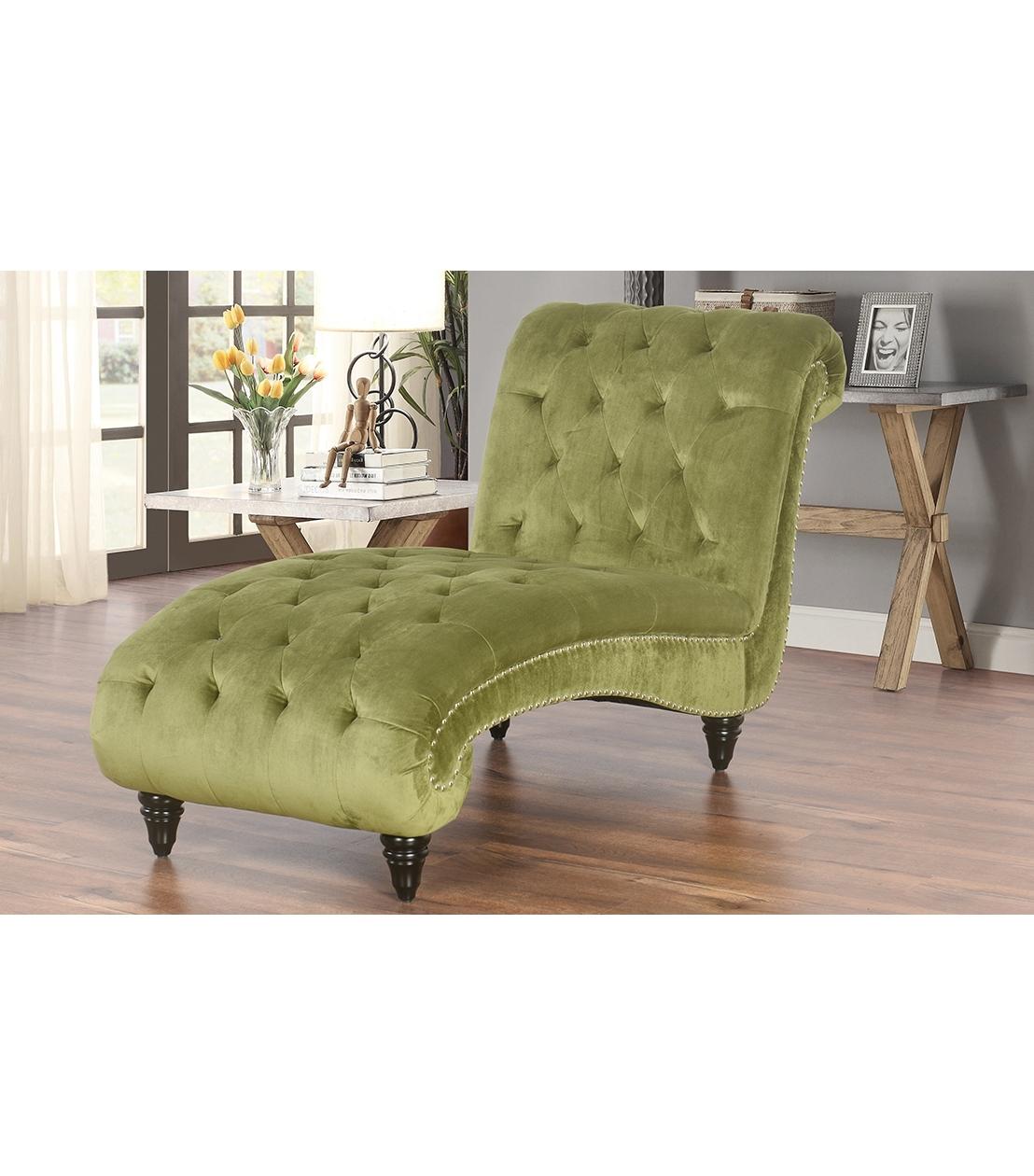 Well Known Velvet Chaises Regarding Chaises : Felice Tufted Velvet Chaise, Olive (View 13 of 15)