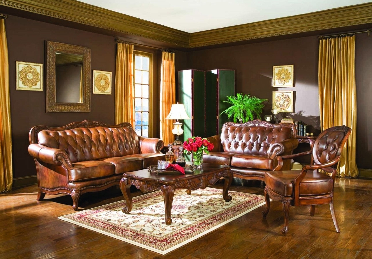 Well Known Victorian Leather Sofas Throughout Living Room : Elegant Victorian Style Living Room Design With Gold (View 14 of 15)