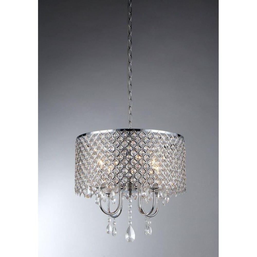 Well-known Warehouse Of Tiffany Angelina 4-Light Chrome Crystal Chandelier With intended for 4 Light Crystal Chandeliers