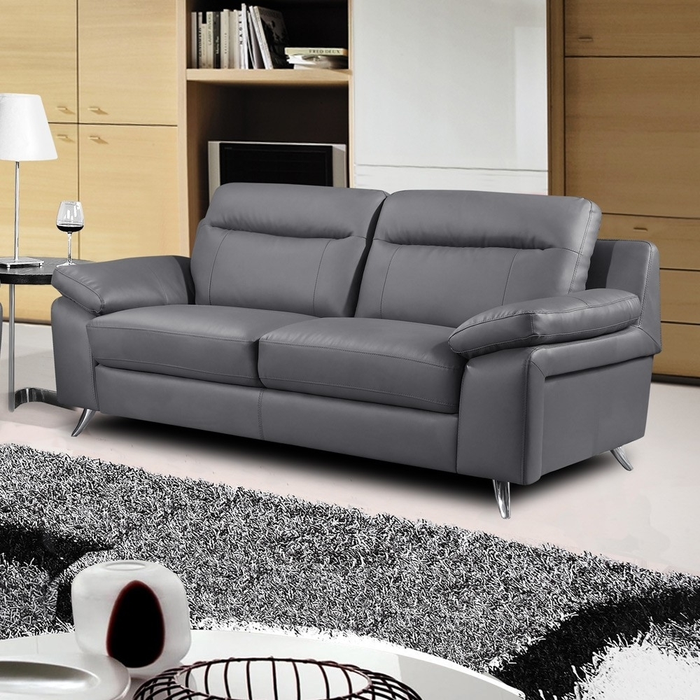 Well Liked 3 Seater Leather Sofas With Regard To Nuvola Italian Inspired Leather Dark Grey Sofa Collection (View 11 of 15)