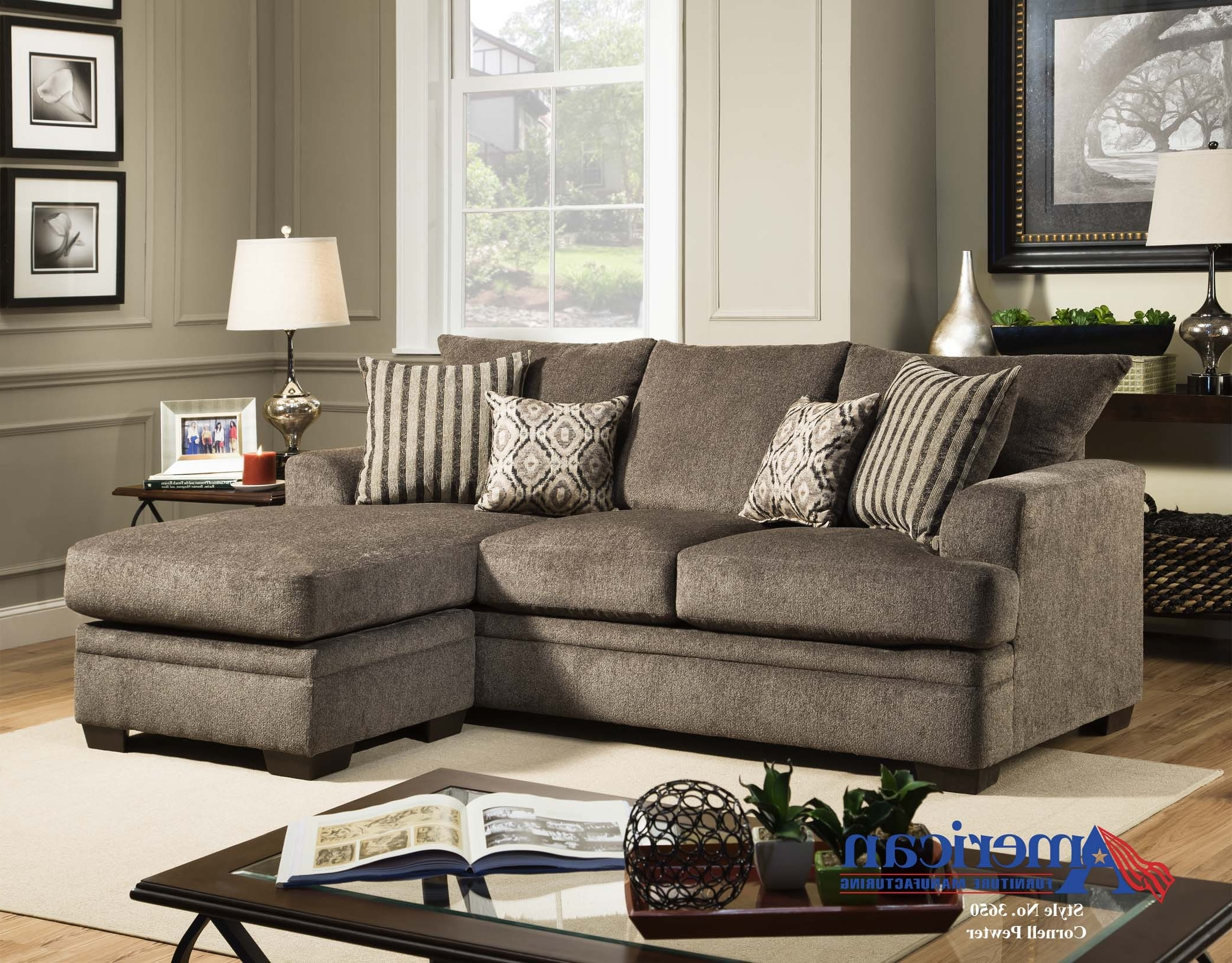"Well Liked American Furniture 3657 ""Cornell Pewter"" Sofa Chaise – Crazy Joe's In Janesville Wi Sectional Sofas (View 15 of 15)"