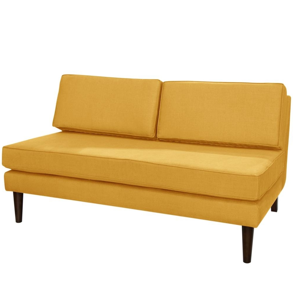 Well Liked Armless Chaises Throughout Klein Mustard Armless Chaise 2406Klnmst – The Home Depot (View 11 of 15)