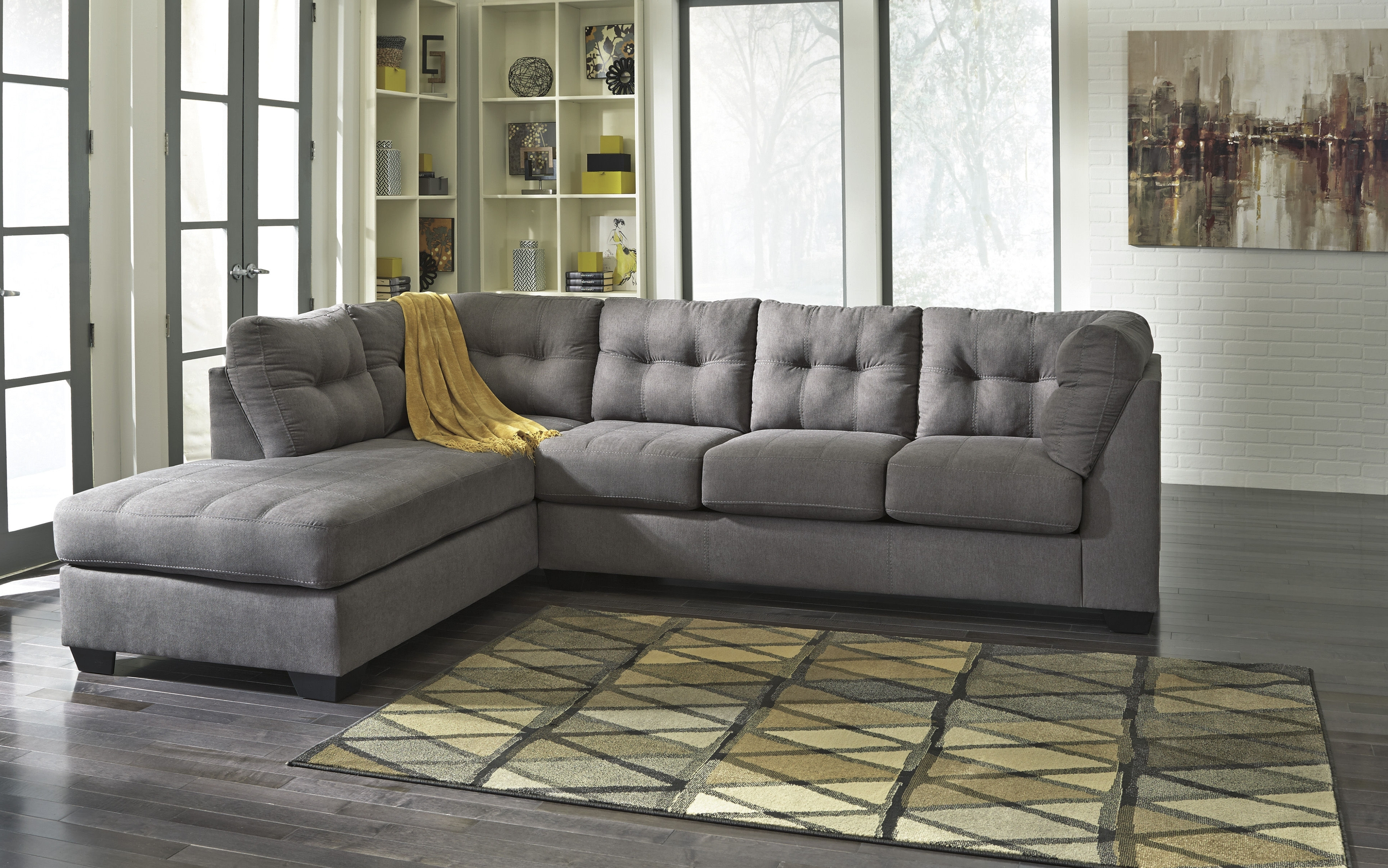 Well Liked Ashley Furniture Maier Charcoal Raf Chaise Sectional (View 4 of 15)