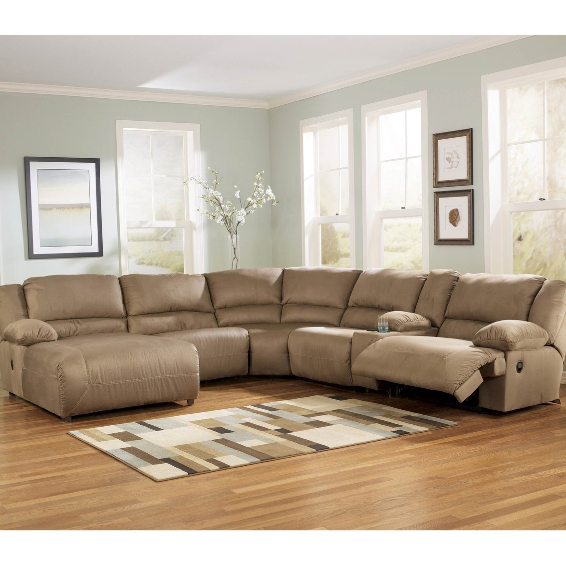 Well Liked Ashley Hogan Sectional With Two Recliners And Right Arm Facing In Chaise Recliners (View 8 of 15)