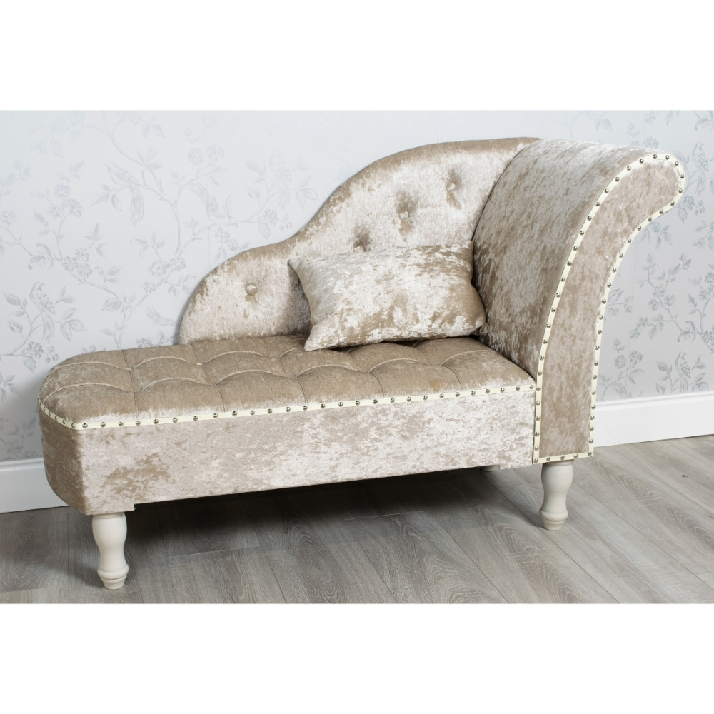 Well-liked Beige Chaise Lounges pertaining to Crushed Velvet Chaise Lounge Beige - Allens