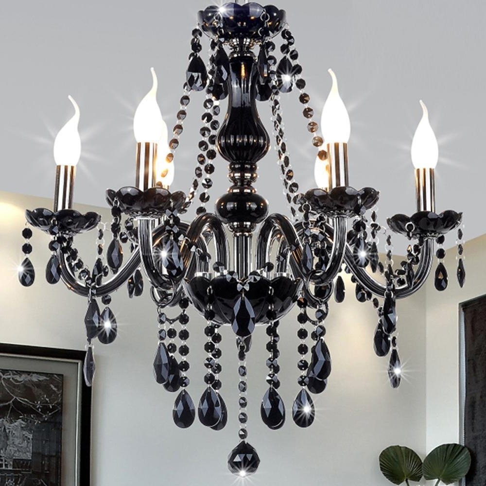 Well Liked Black Modern Crystal Chandelier E14 Candle Holder Novelty Classic With Regard To Black Glass Chandeliers (View 12 of 15)