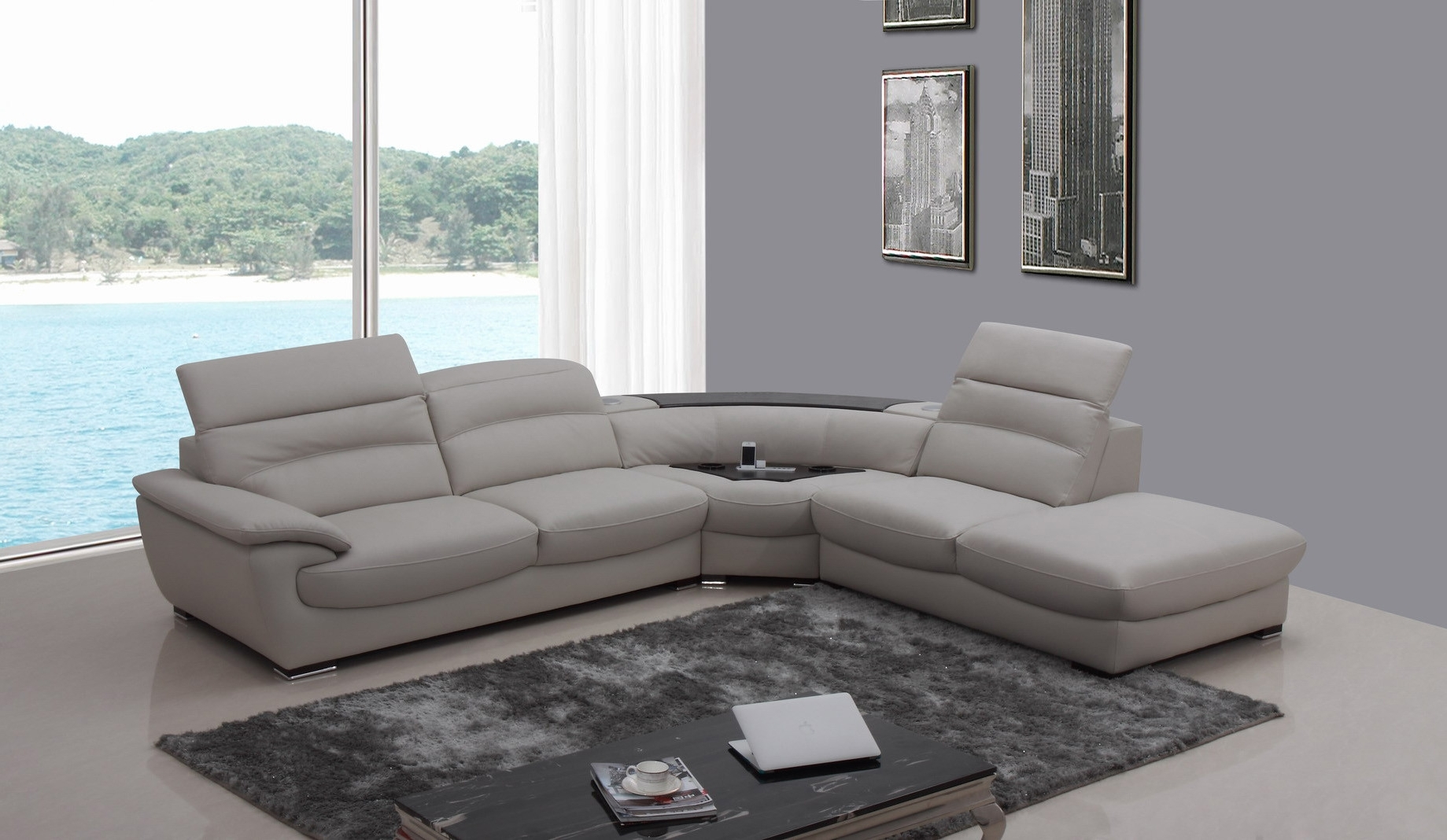 Well Liked Casa Miracle Modern Light Grey Italian Leather Sectional Sofa Regarding Miami Sectional Sofas (View 10 of 15)