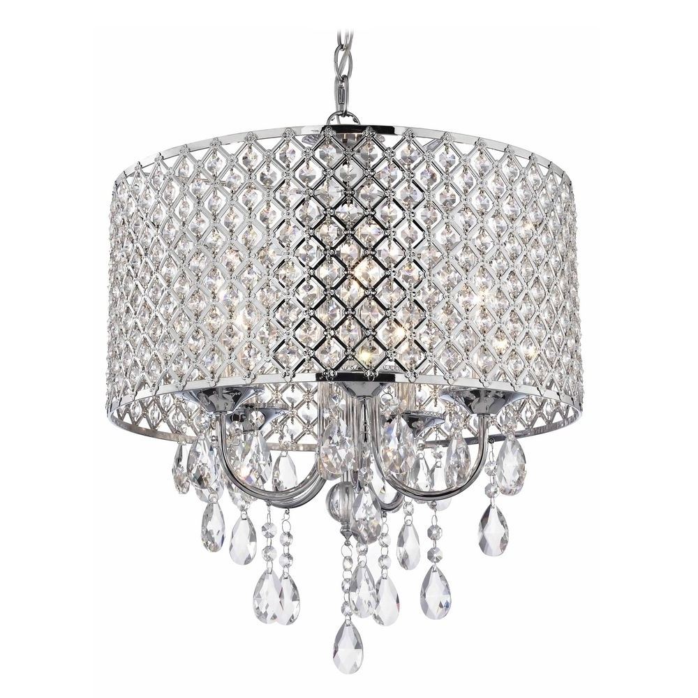 Well Liked Chrome And Crystal Chandeliers Pertaining To Crystal Chrome Chandelier Pendant Light With Crystal Beaded Drum (View 3 of 15)