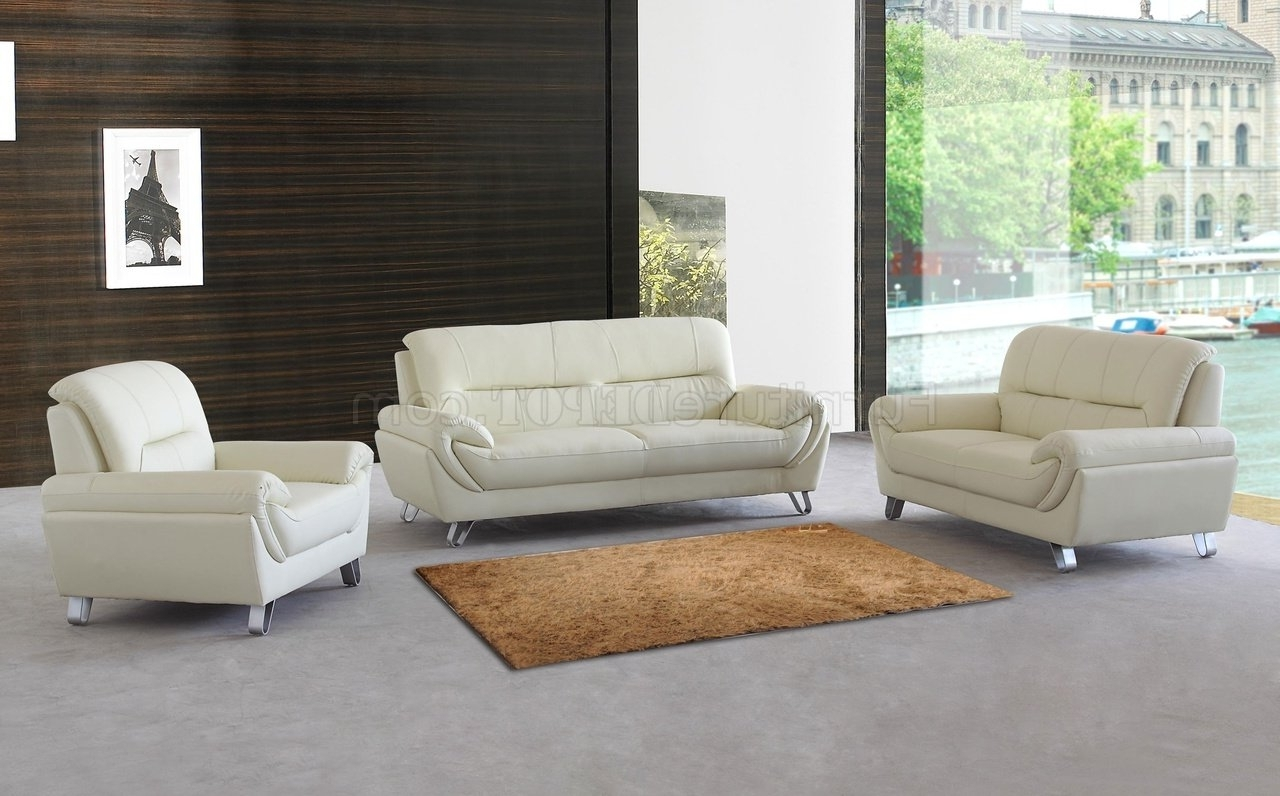Well Liked Contemporary Sofas And Chairs With Regard To Almond Leather Modern Sofa, Loveseat & Chair Set W/options (View 13 of 15)