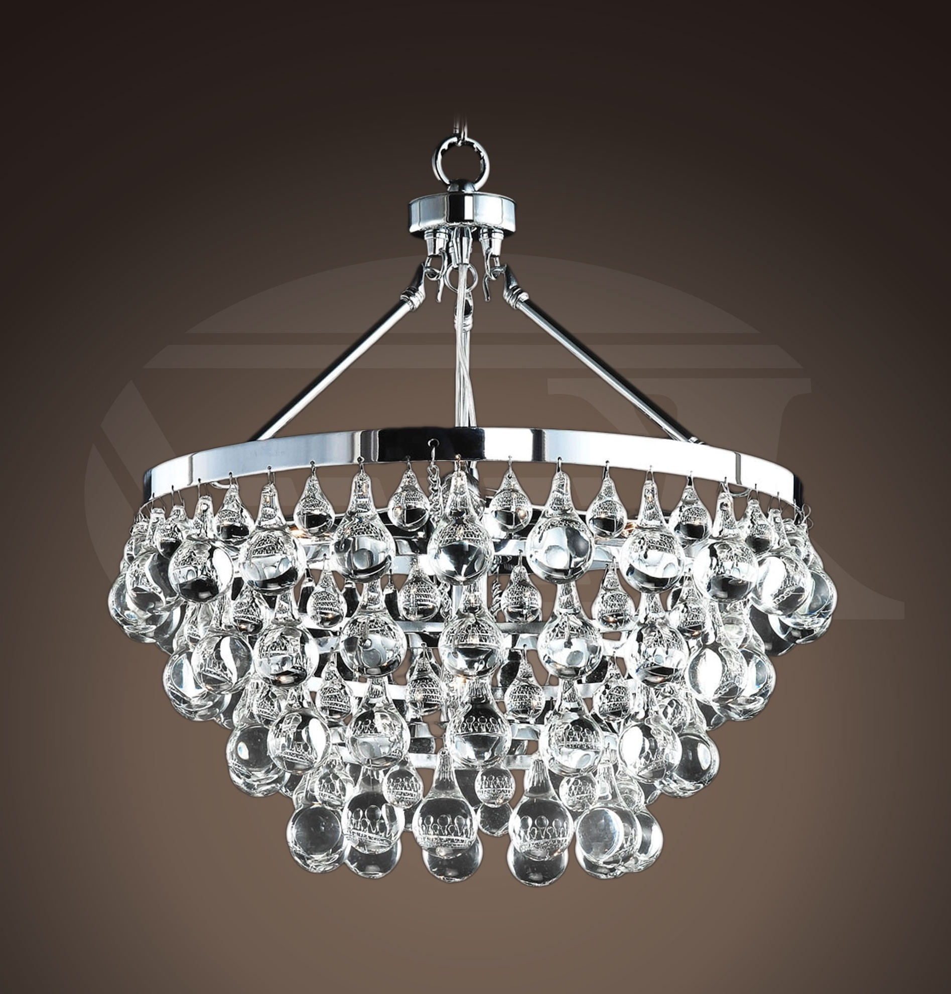 "Well Liked Crystal And Chrome Chandeliers With Style Glass Crystal 5 Light Luxury Chrome Chandelier (19""hx (View 15 of 15)"