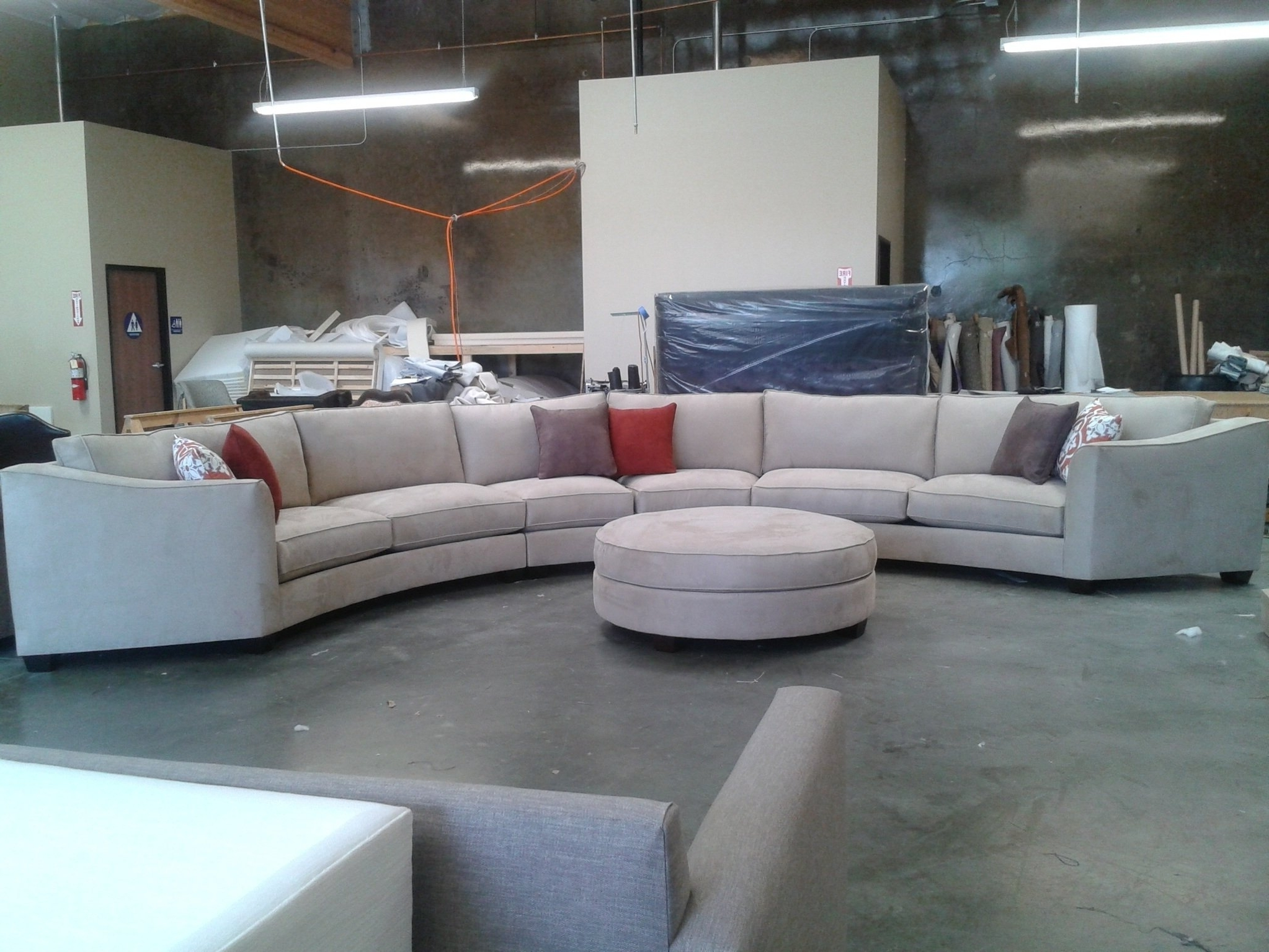 Well Liked Curved Sectional Sofa Set Rich Comfortable Upholstered Fabric In Inside Round Sectional Sofas (View 13 of 15)