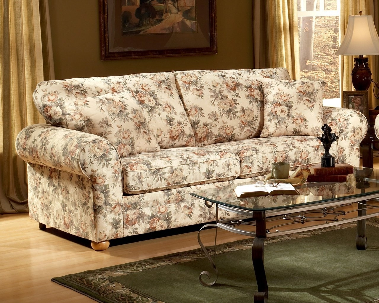 Well Liked Floral Sofas And Chairs Throughout Pattern Fabric Traditional Sofa & Loveseat Set (View 2 of 15)