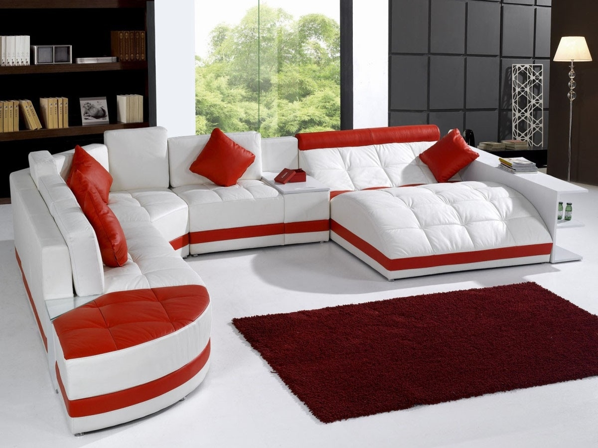 Well Liked Furniture: White Leather Sectional Sofa With Recliner And Red Intended For Red Leather Sectional Sofas With Recliners (View 6 of 15)