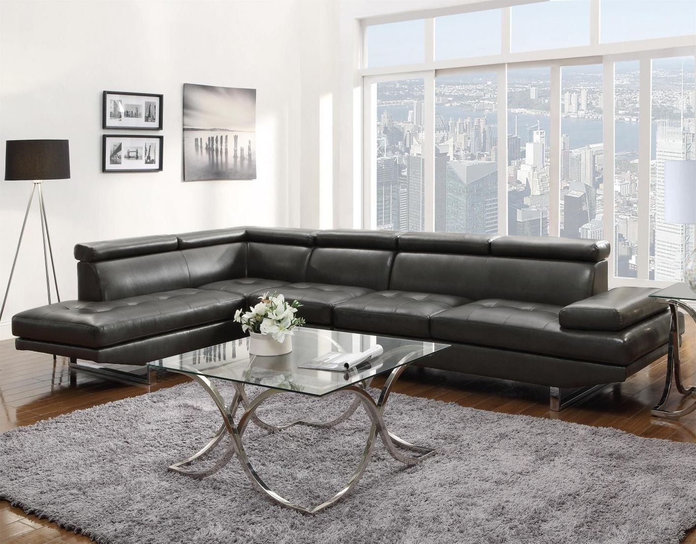 Well Liked Grey Leather Sectional Sofa – Steal A Sofa Furniture Outlet Los Inside Sleek Sectional Sofas (View 9 of 15)