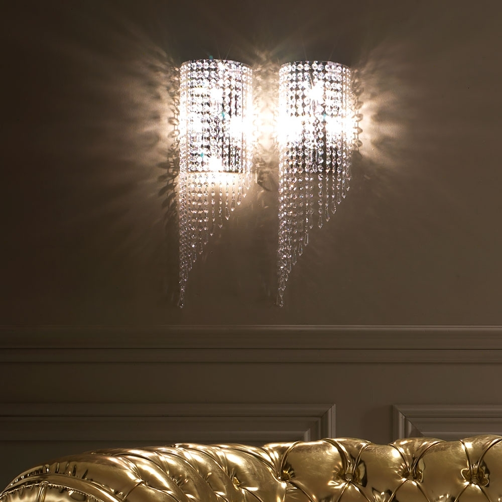 Well Liked Italian Designer Crystal Drop Wall Light (View 14 of 15)