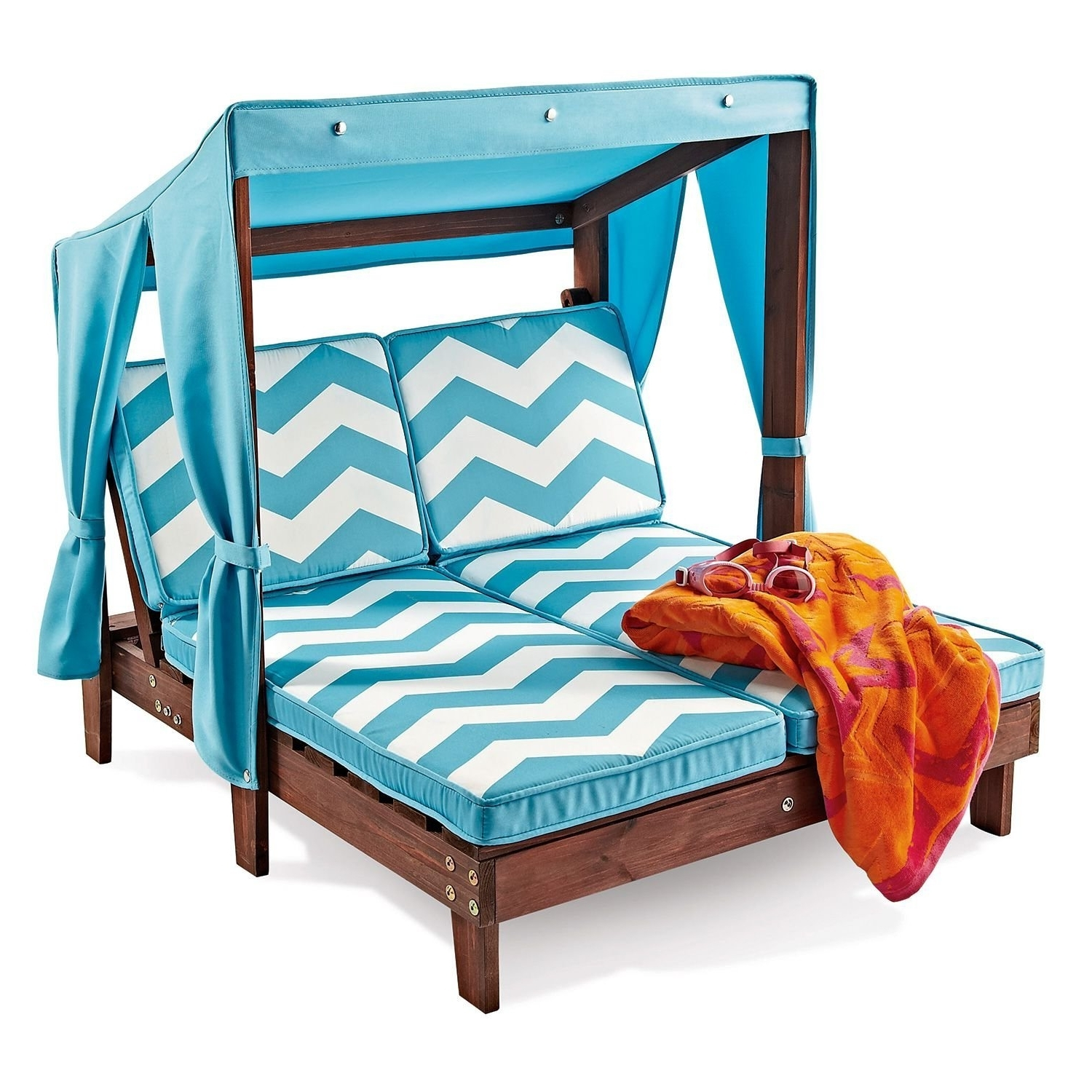 Well Liked Kidkraft Double Chaise Lounges Pertaining To Amazon: Outdoor Kid's Double Chaise Lounge Chair W/ Canopy (View 8 of 15)