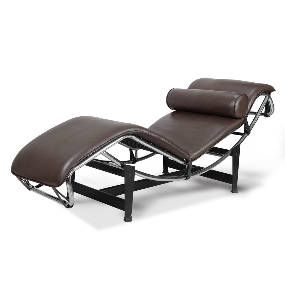 Well Liked Le Corbusier La Chaise Chair Lc4 Chaise Lounge White Leather Within Brown Leather Chaise Lounges (View 13 of 15)