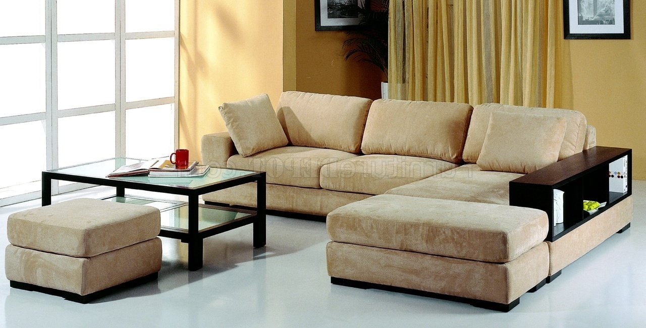 Well Liked Microfiber Sectional Sofas Inside Beige Microfiber Sectional Sofa W/2 Ottomans & Bookcase (View 14 of 15)