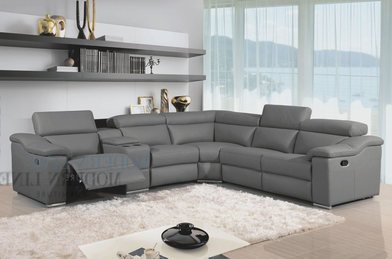 Well Liked Modern Reclining Leather Sofas Pertaining To Awesome Great Charcoal Grey Sectional Sofa 29 About Remodel Home (View 15 of 15)