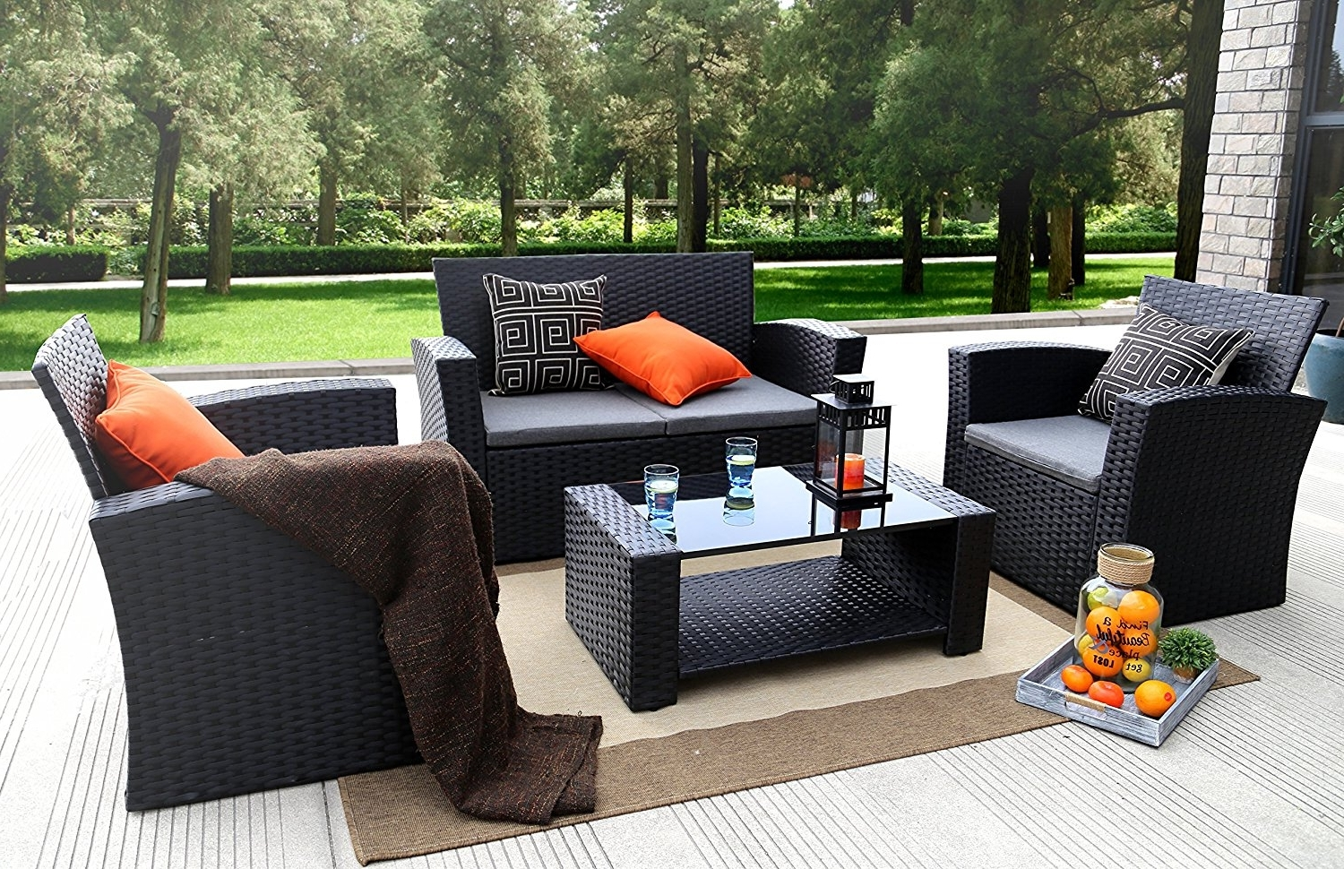 Well Liked Outdoor Sofas And Chairs Throughout Amazon: Baner Garden (N87) 4 Pieces Outdoor Furniture Complete (View 3 of 15)