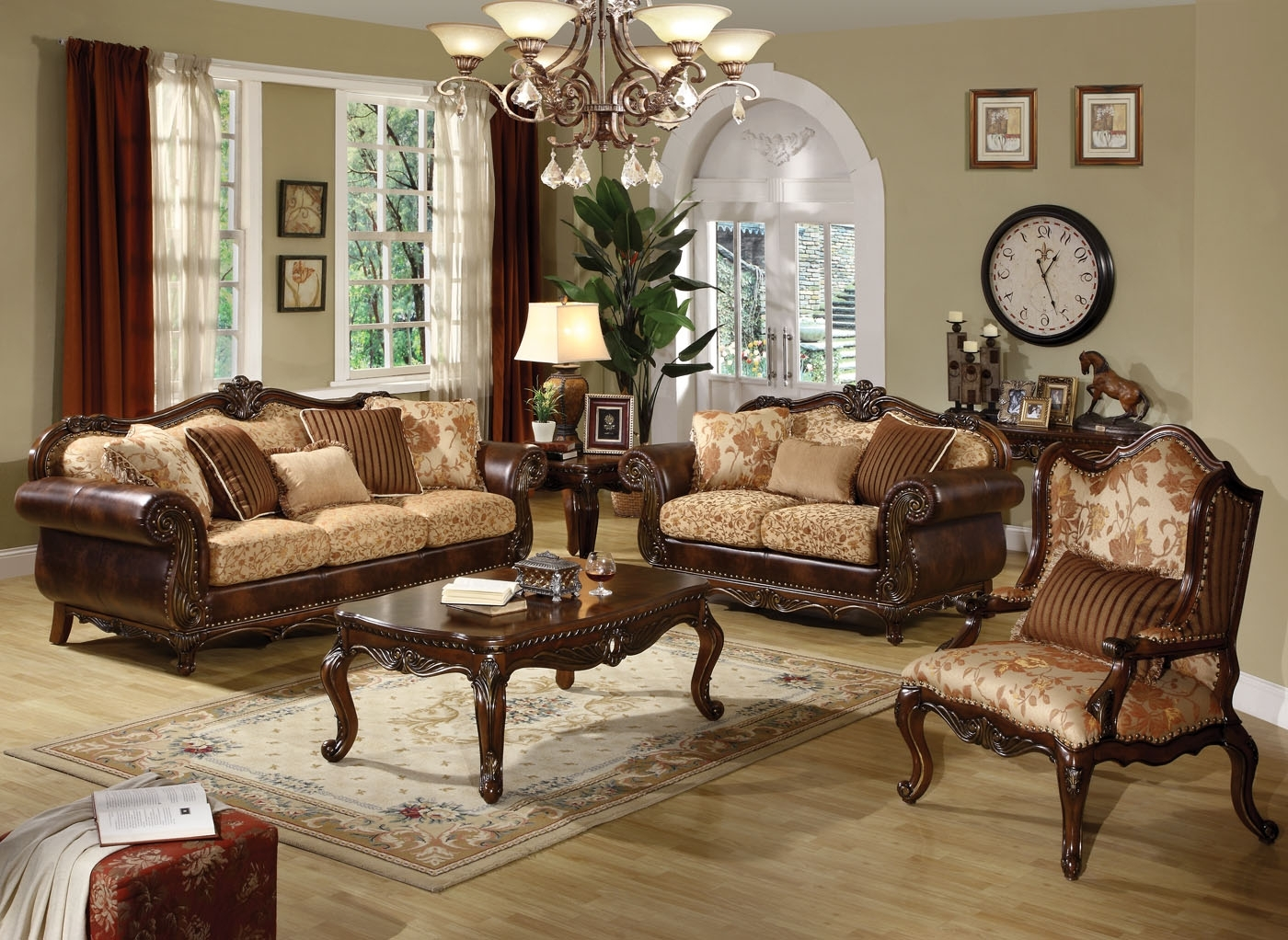 Well Liked Remington Traditional 3 Pc Bonded Leather And Fabric Sofa Set Pertaining To Traditional Fabric Sofas (View 15 of 15)