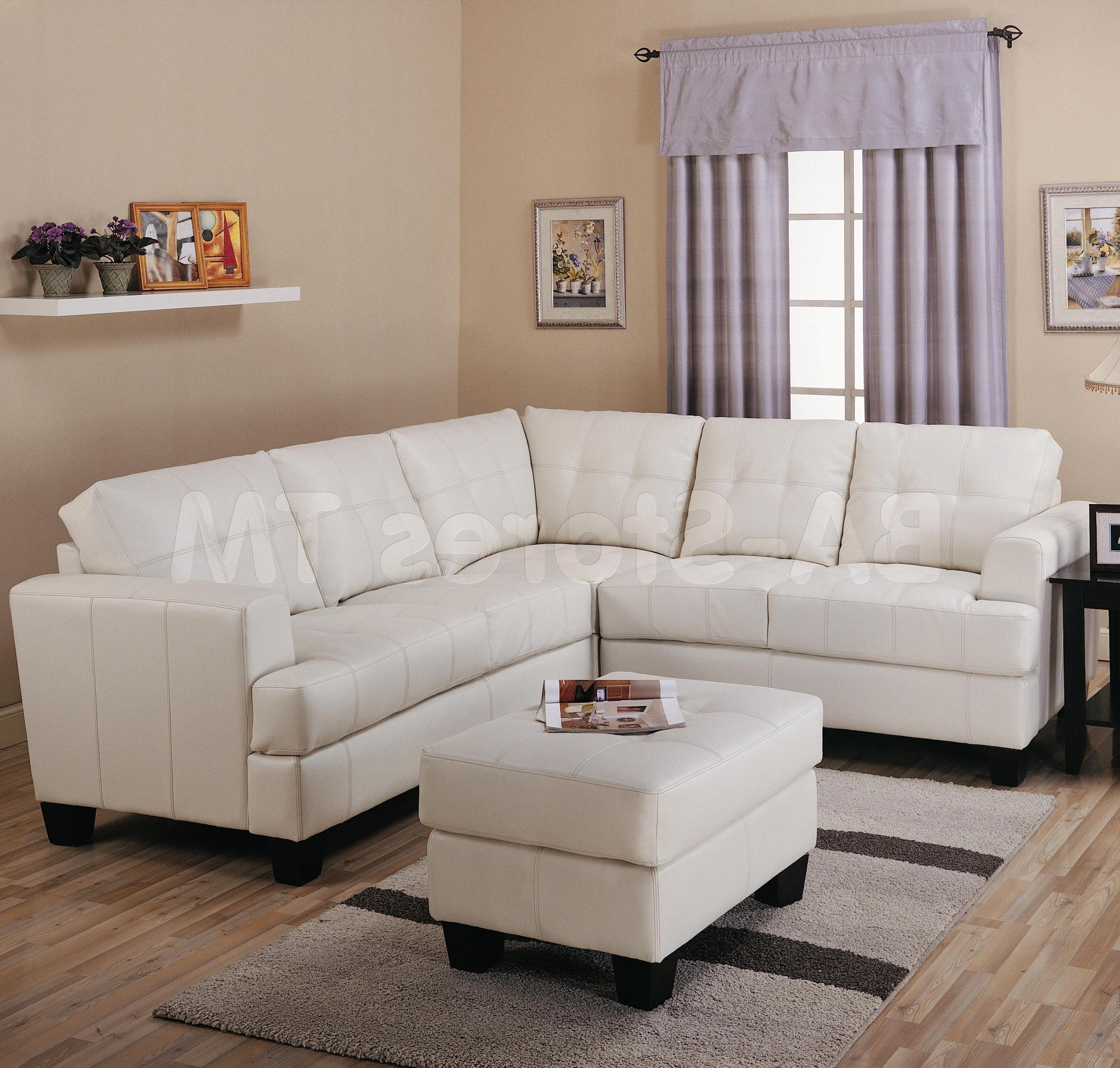 Well Liked Sectional Sofa Design: Adorable Cream Leather Sectional Sofa Cream Regarding Nanaimo Sectional Sofas (View 15 of 15)