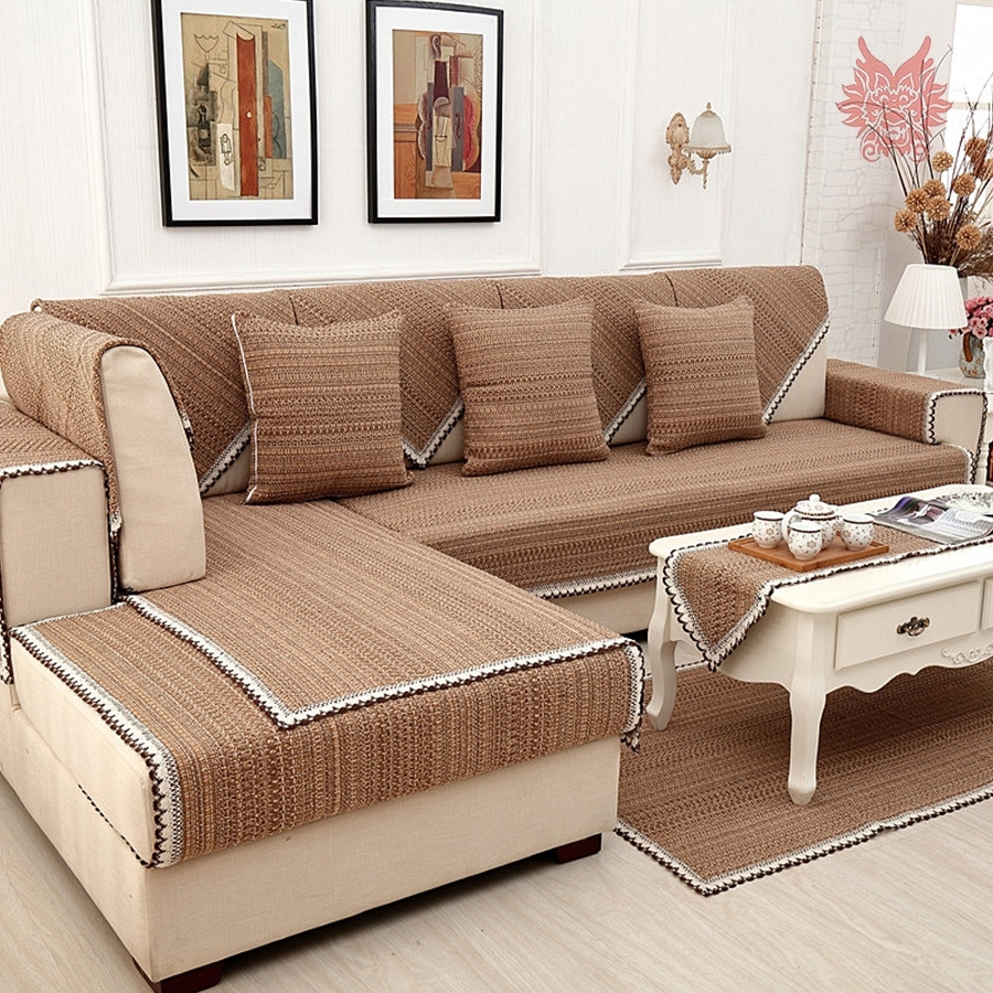 Well Liked Sectional Sofas From Europe Regarding Europe Style Brown Solid Cotton Linen Sofa Cover Lace Decor (View 15 of 15)