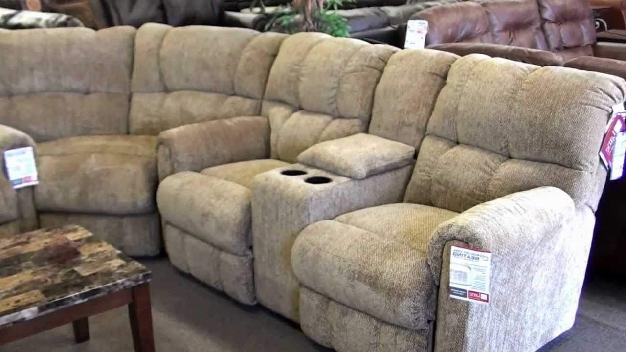 Well Liked Sectional Sofas With Cup Holders For Lane Recliner Sectional 4 Recliners With Cupholders – Youtube (View 10 of 15)