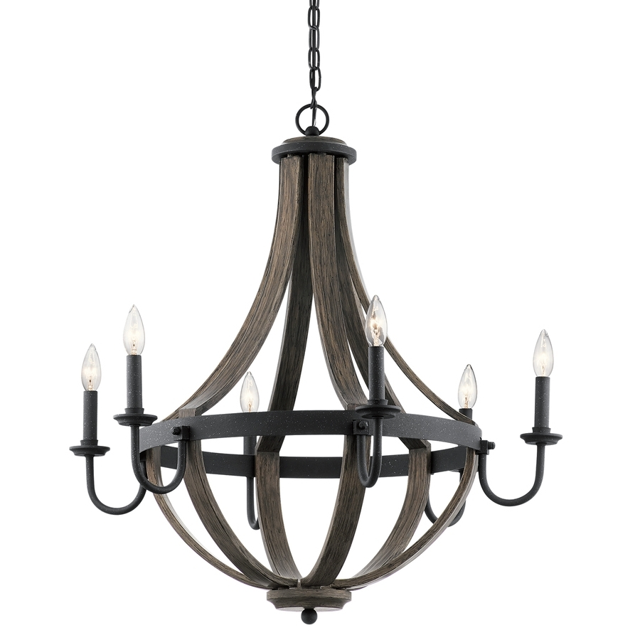 Well Liked Shop Kichler Merlot 30 In 6 Light Distressed Black And Wood Barn For Candle Chandelier (View 15 of 15)