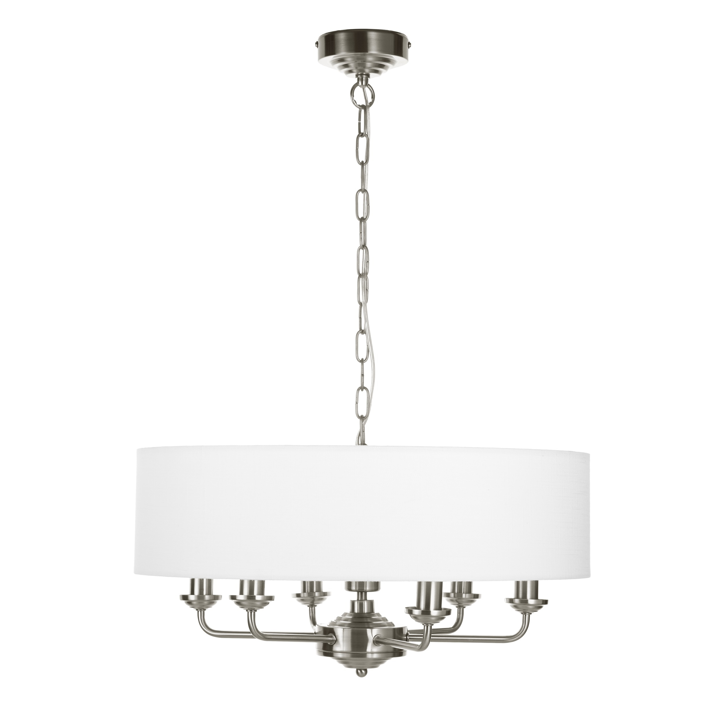 Well Liked Sorrento Chrome 6 Arm Chandelier With White Shade (View 7 of 15)