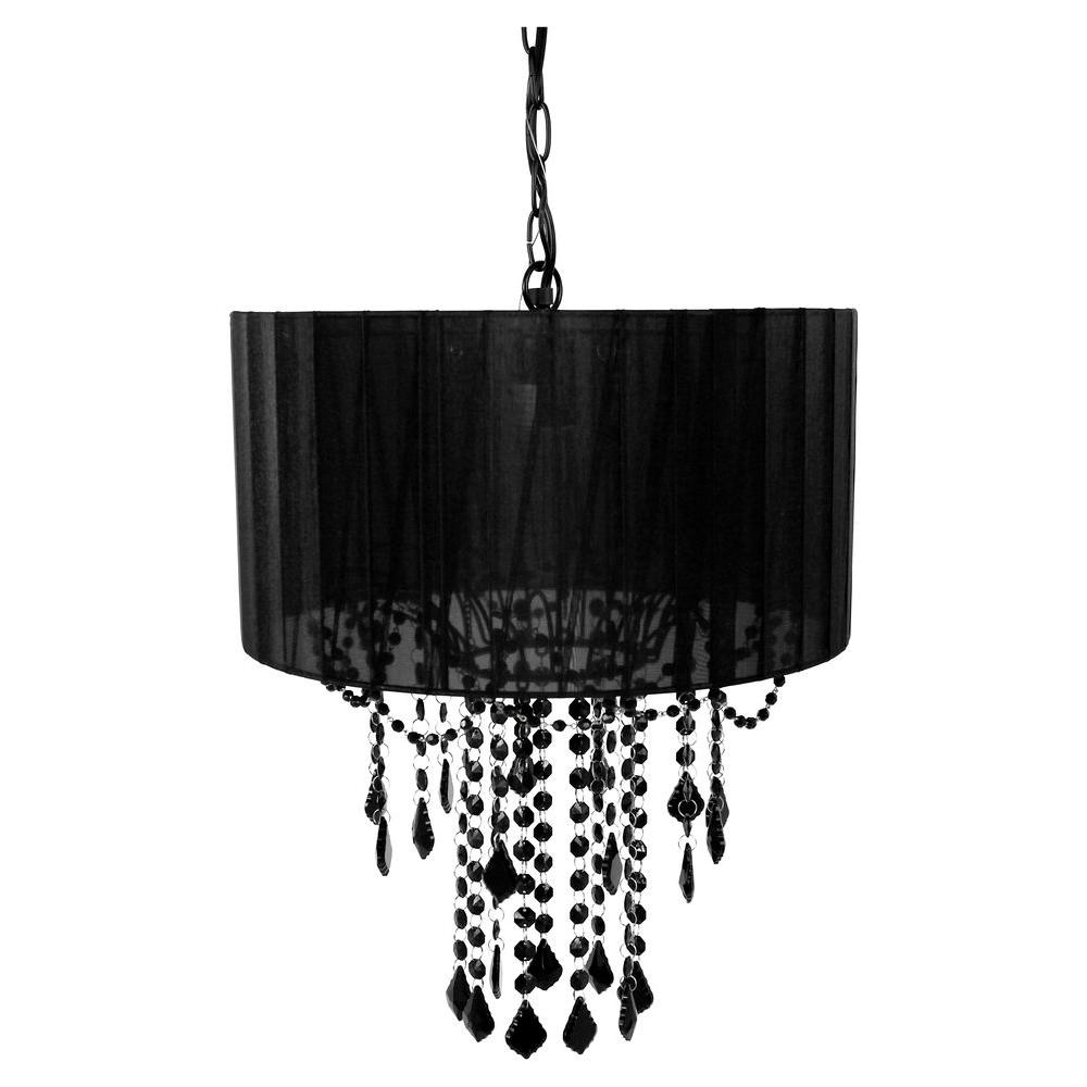 Well Liked Tadpoles 1 Light Black Chandelier Shade Cchash020 – The Home Depot With Regard To Black Chandeliers (View 4 of 15)
