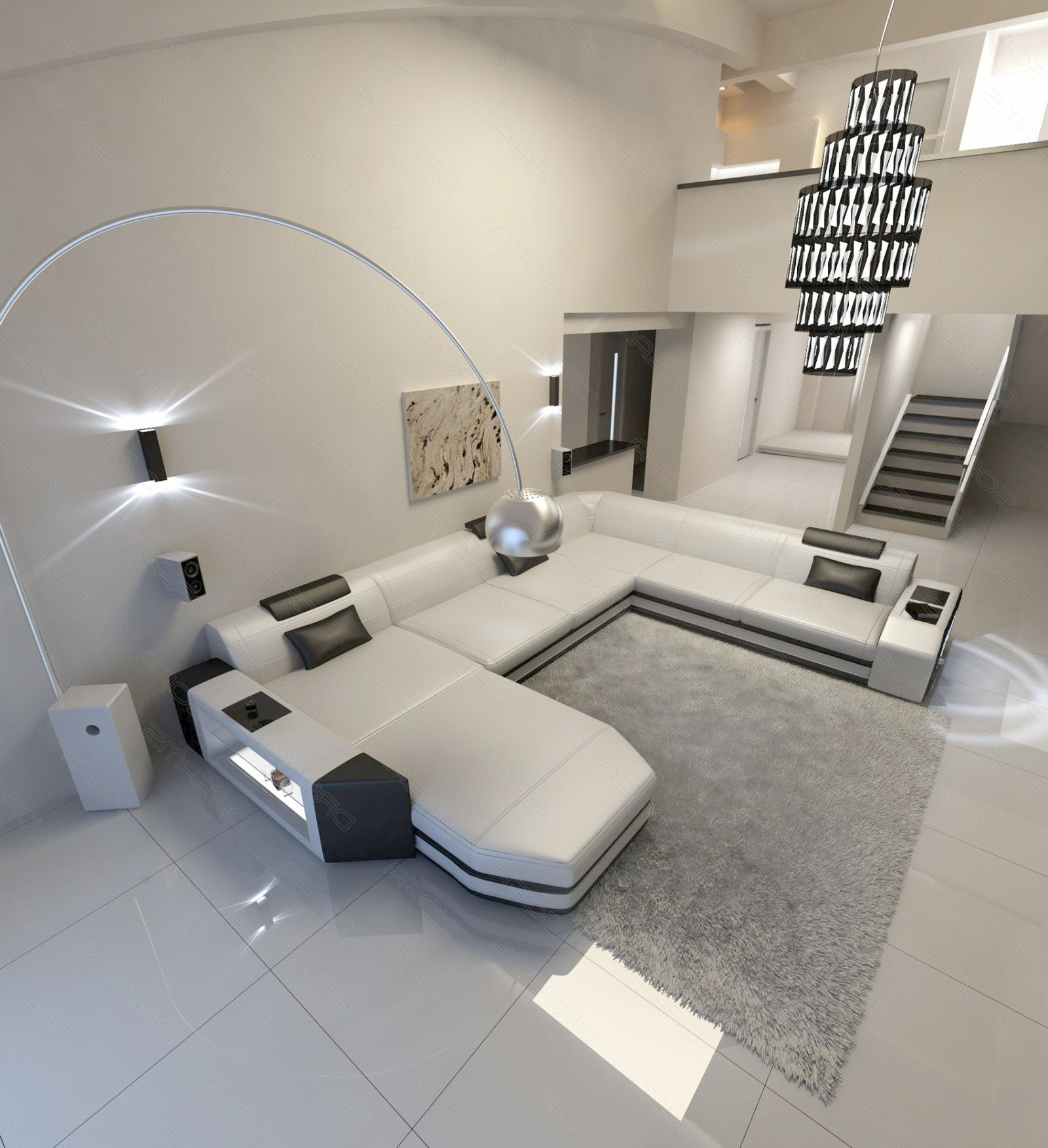 Well Liked U Shaped Sectionals With Modern U Shaped Sofa Dallas Xxl With Lights (View 15 of 15)