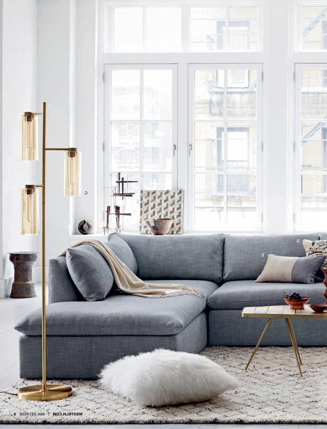 West Elm Sectional Sofas For Famous Add Allure To Your Living Room With These Tripod Floor Lamps (View 10 of 15)