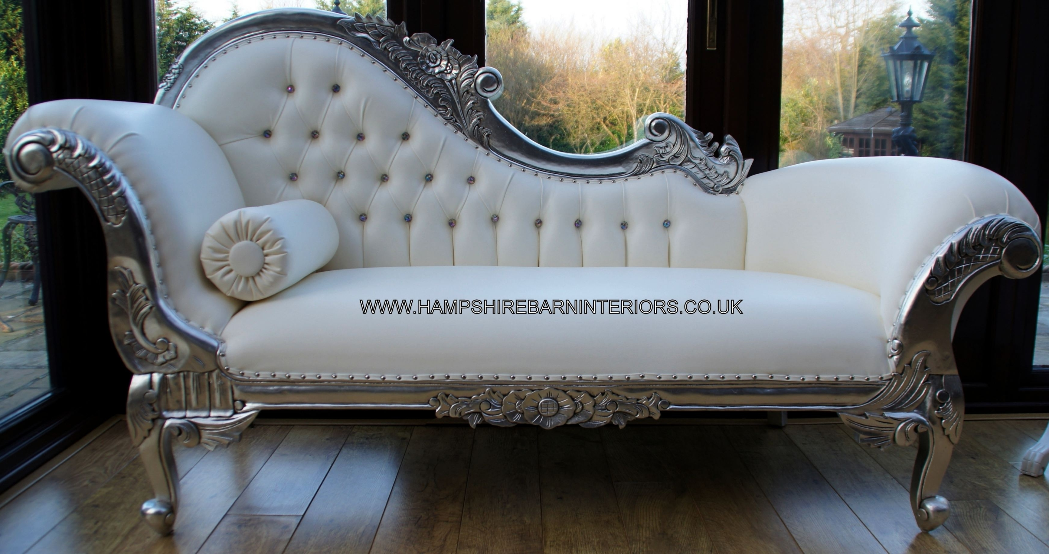 White Chaises Throughout Widely Used Left Handed Silver Ornate Chaise White Faux Leather  (Nice Lounge (View 4 of 15)