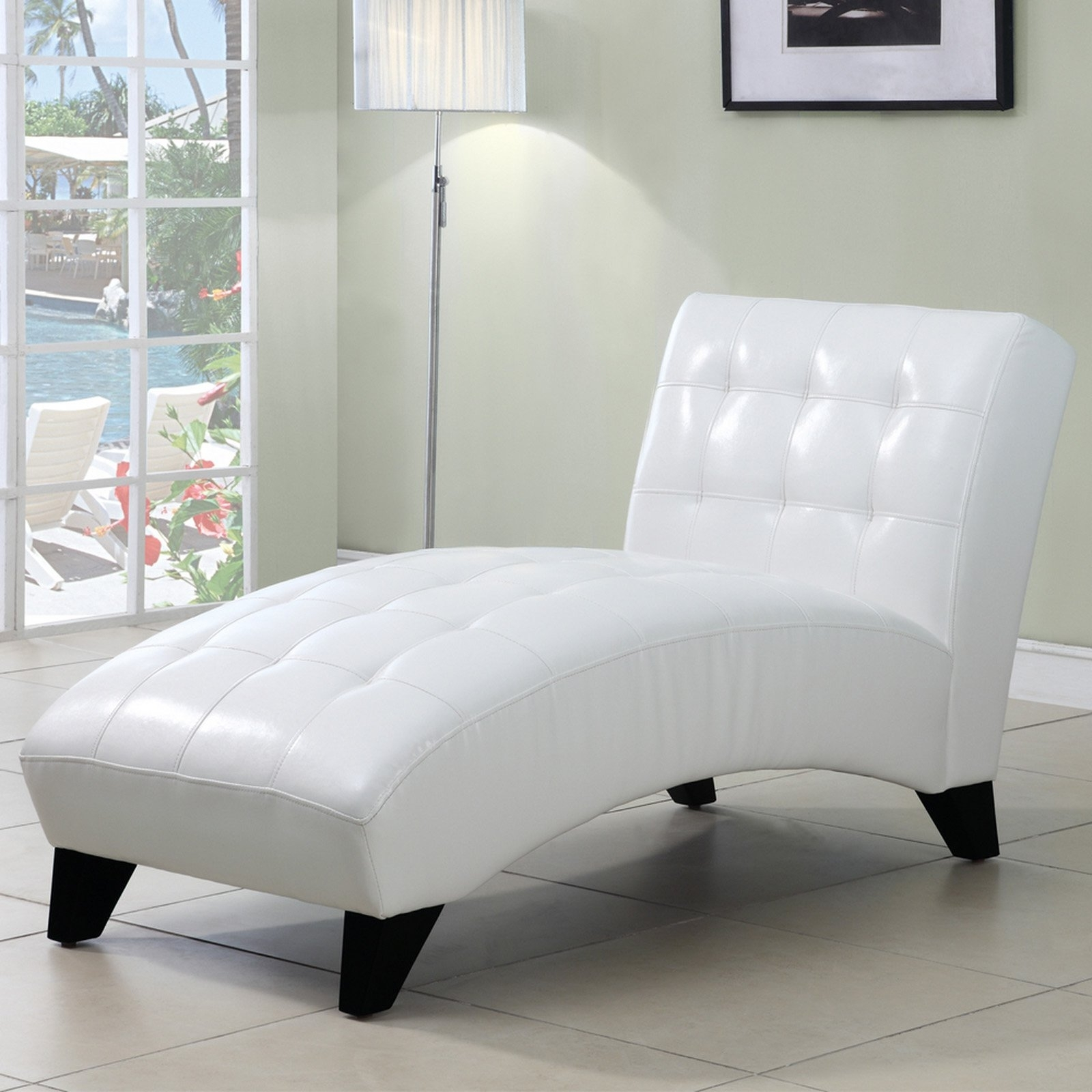 White Leather Chaise Lounges Intended For Preferred Bedroom (View 3 of 15)