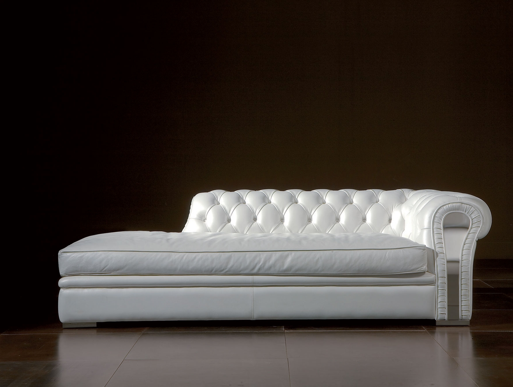 White Leather Chaise Lounges Pertaining To Most Popular Long White Leather Sofa Chaise Lounge With Puffed Headboard Placed (View 6 of 15)