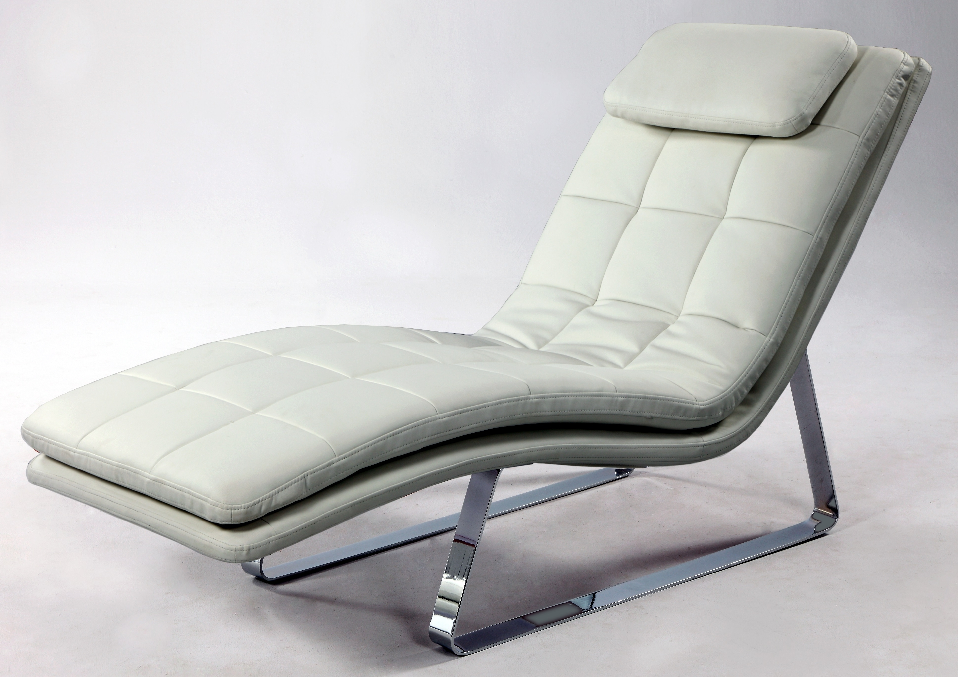 White Leather Chaises Intended For Trendy Full Bonded Leather Tufted Chaise Lounge With Chrome Legs New York (View 6 of 15)