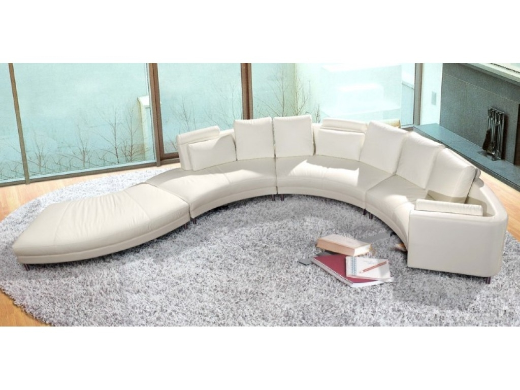White Leather Curved Sectional Sofa – S3Net – Sectional Sofas Sale In Most Current Round Sectional Sofas (View 15 of 15)