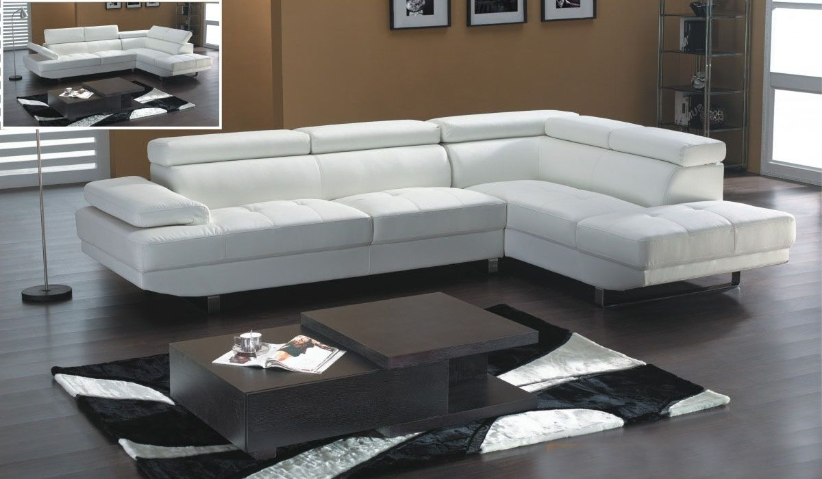 White Leather Modern Sectional Sofa With Adjastable Headrests In Most Popular White Sectional Sofas With Chaise (View 11 of 15)
