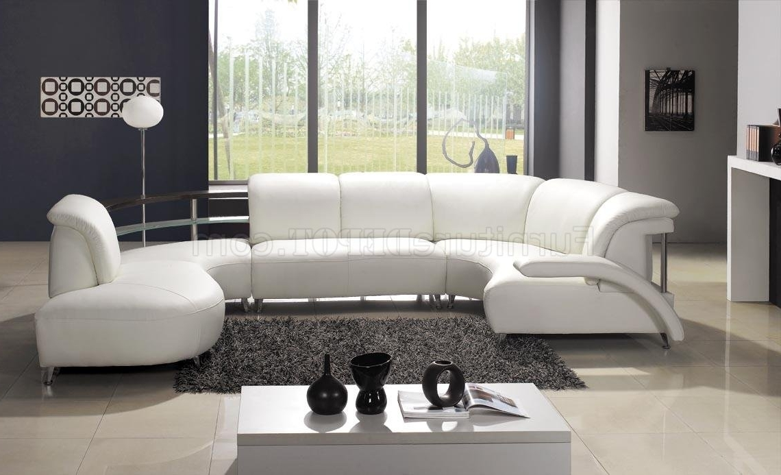 White Leather Modern U Shaped Sectional Sofa W/shelves Within Latest Modern U Shaped Sectional Sofas (View 15 of 15)