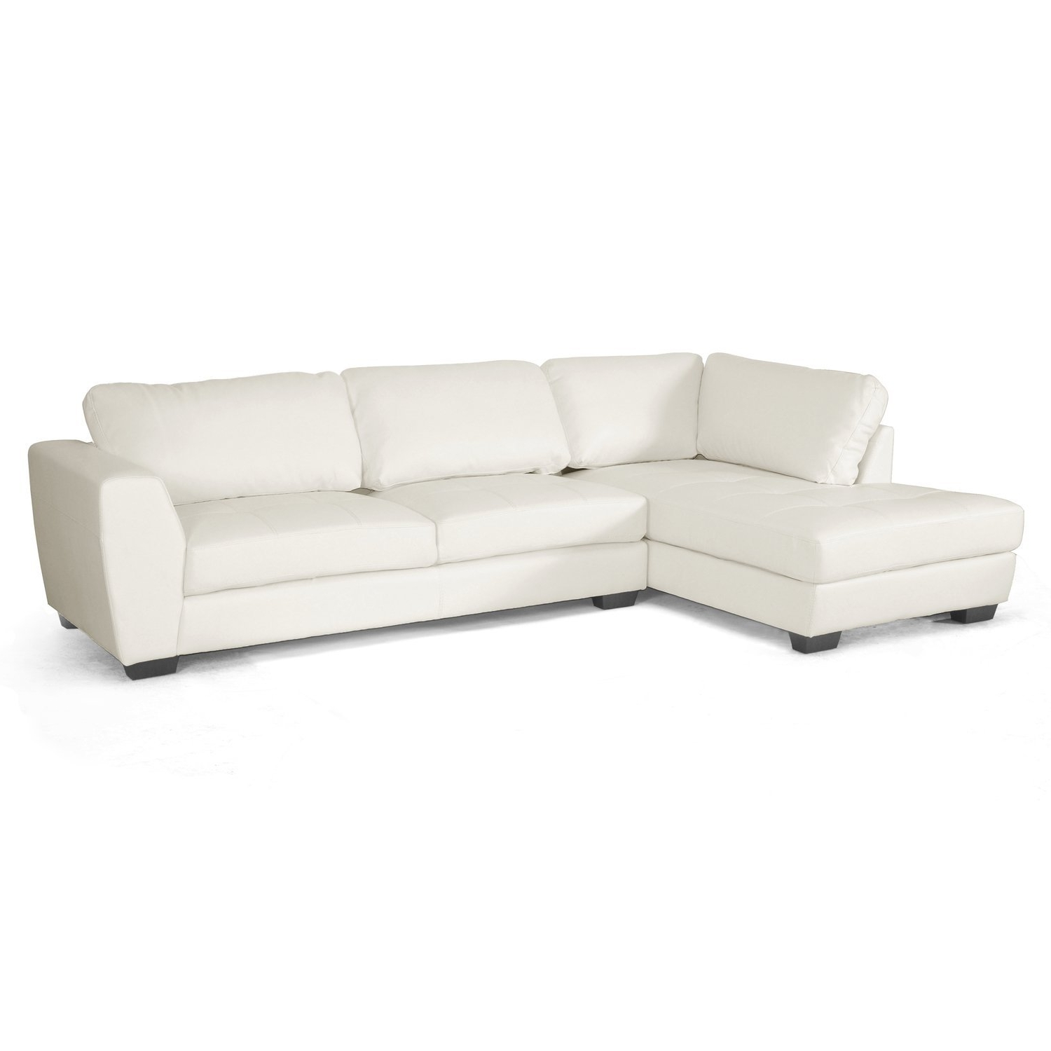 White Leather Sectionals With Chaise Intended For Most Recent Amazon: Baxton Studio Orland Leather Modern Sectional Sofa Set (View 14 of 15)