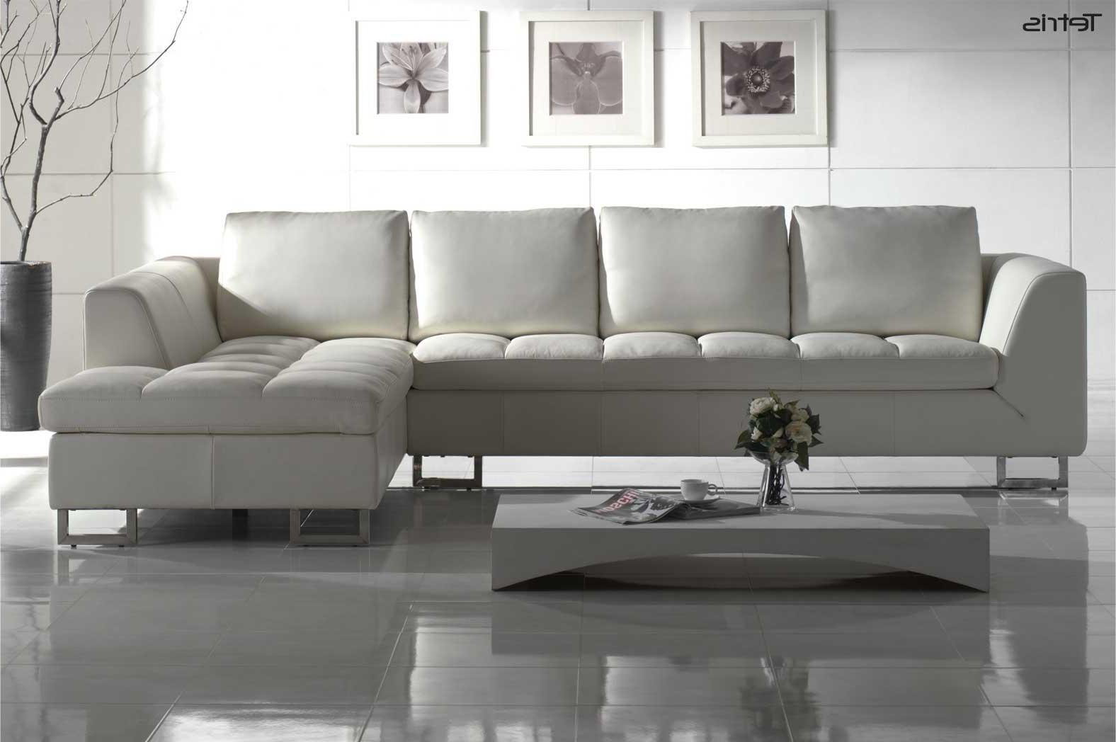 White Leather Sofas With Regard To Fashionable White Leather Contemporary Sofa : Best Leather Contemporary Sofa (View 15 of 15)