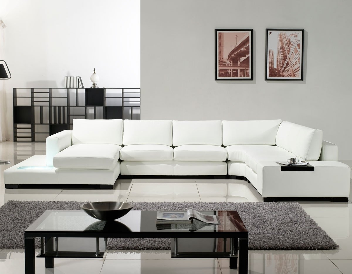 White Sectional Sofas For Current Sofa : Modern White Leather Recliner Sofa Modern White Leather (View 13 of 15)
