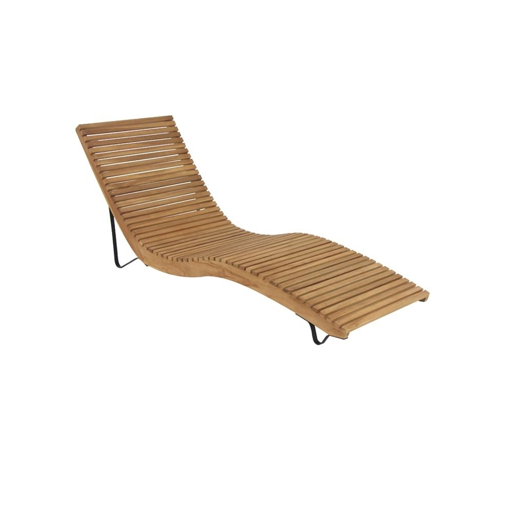 White Teak Wood Slanted And Curved Chaise Lounge Chair 77843 – The Regarding Well Known Teak Chaises (View 14 of 15)