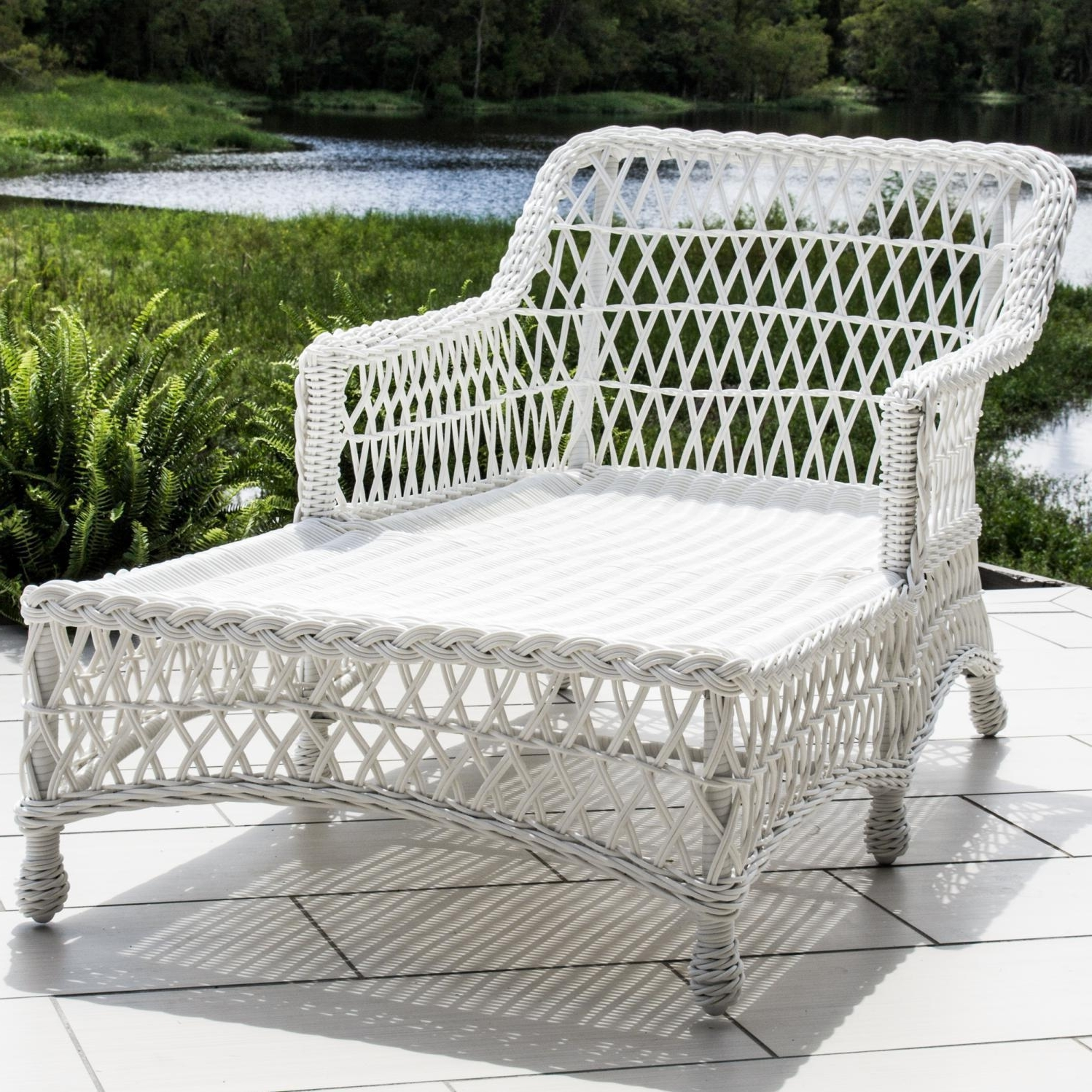 White Wicker Chaise Lounges In Well Known Everglades White Resin Wicker Patio Chaise Loungelakeview (View 4 of 15)